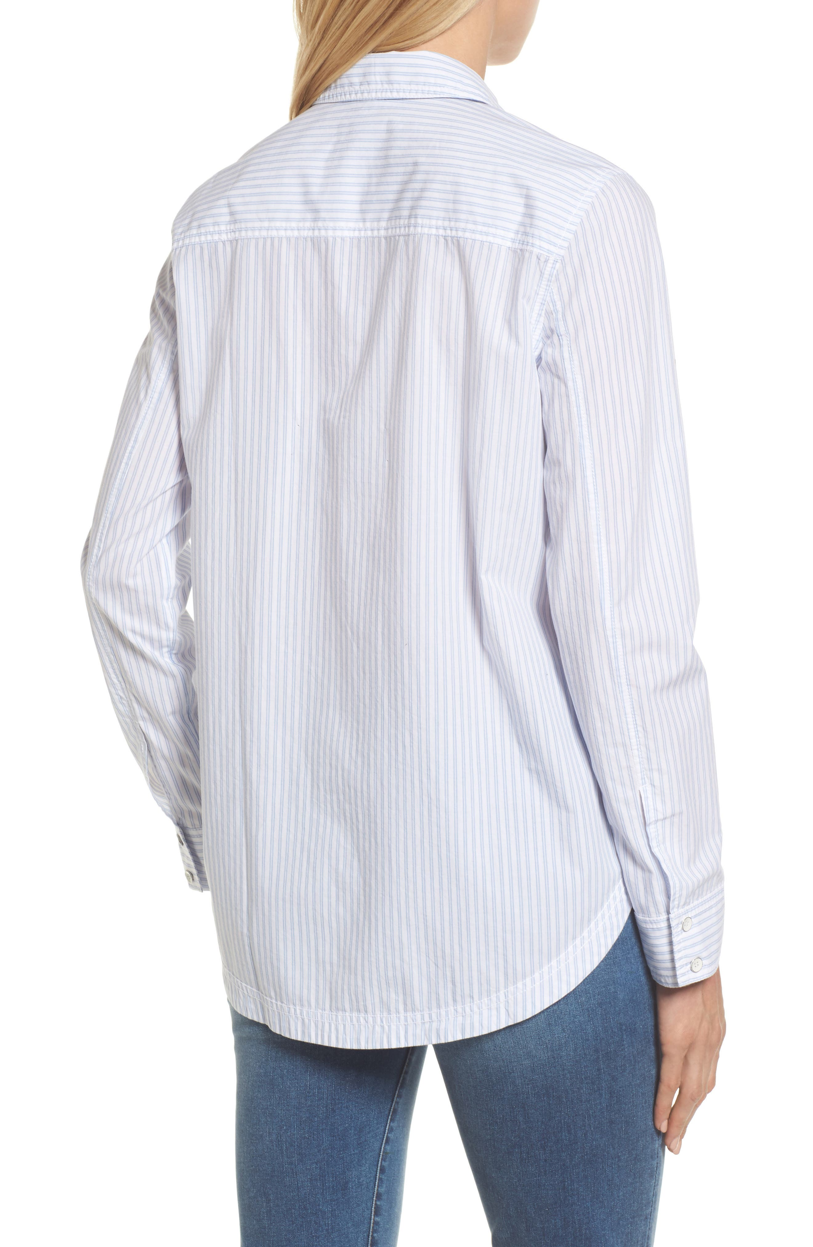 Button Front Pocket Shirt,                             Alternate thumbnail 2, color,                             White- Blue Stripe