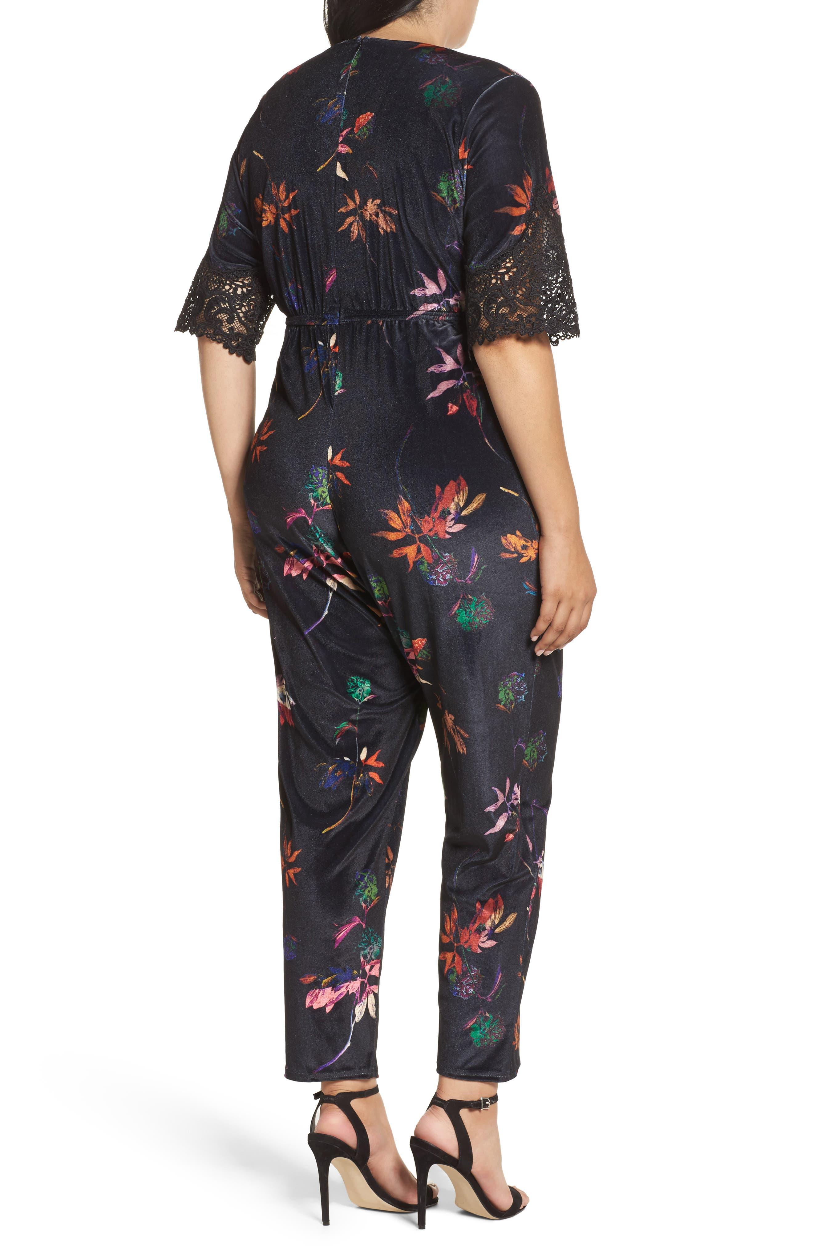 Alternate Image 2  - LOST INK Velvet Floral Jumpsuit (Plus Size)