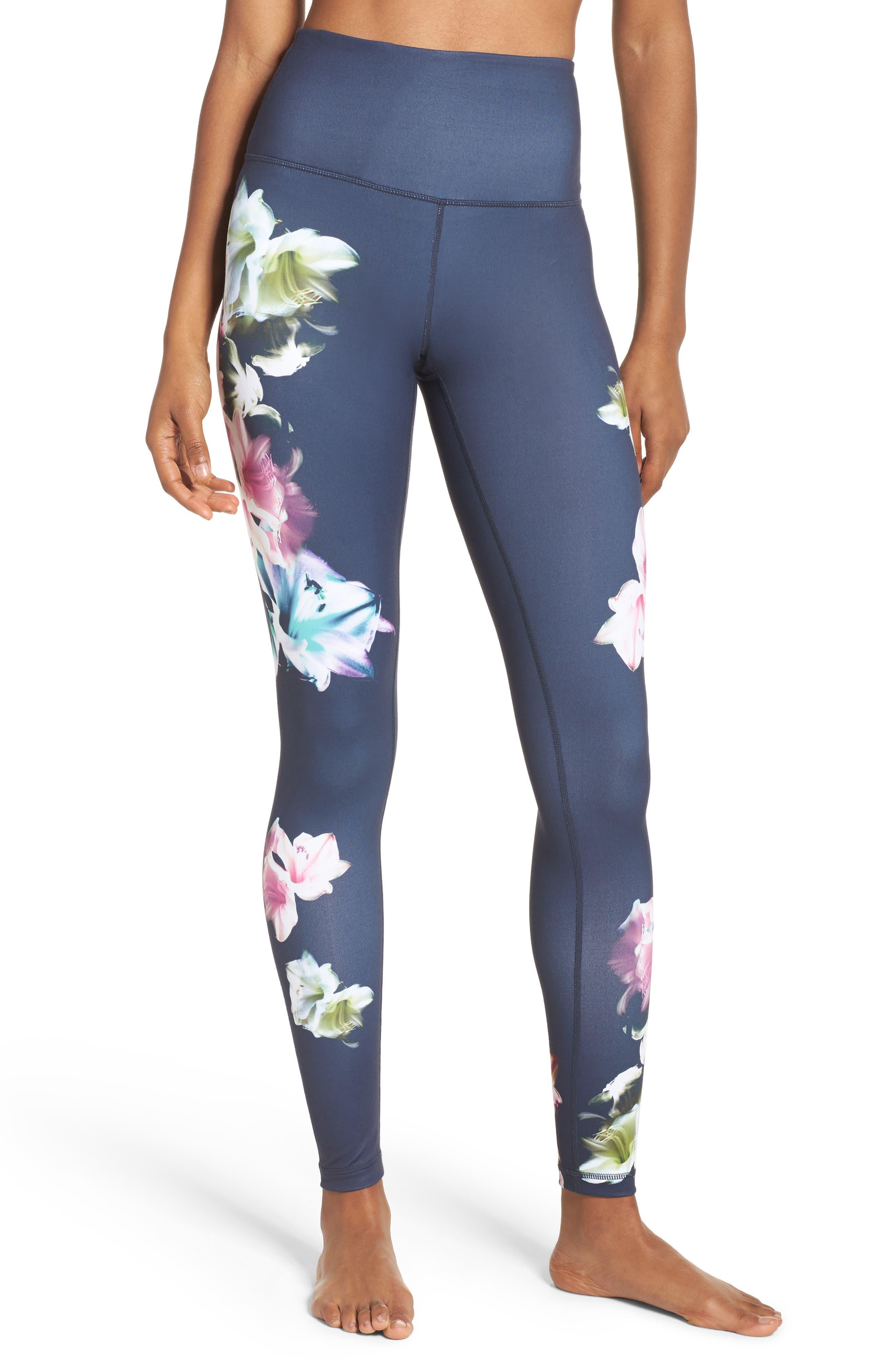 Pure Floral Ink High Waist Leggings,                         Main,                         color, Grey Slate Floral Engineer Prt