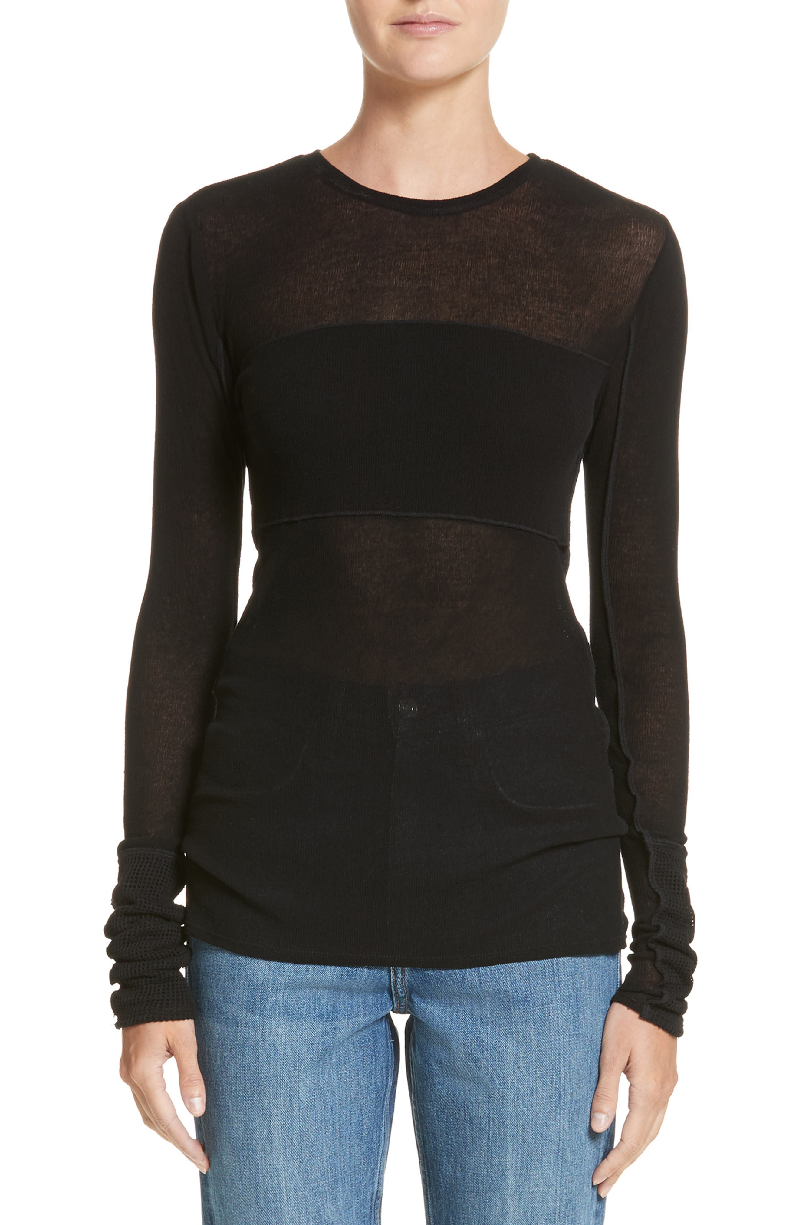 PSWL Illusion Jersey Gauze Top,                         Main,                         color, Black