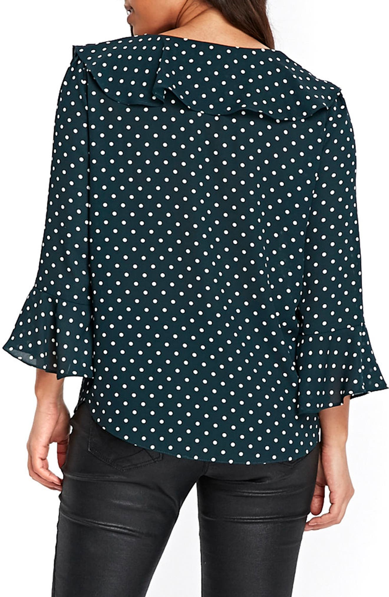 Green Spot Ruffle Top,                             Alternate thumbnail 2, color,                             Green