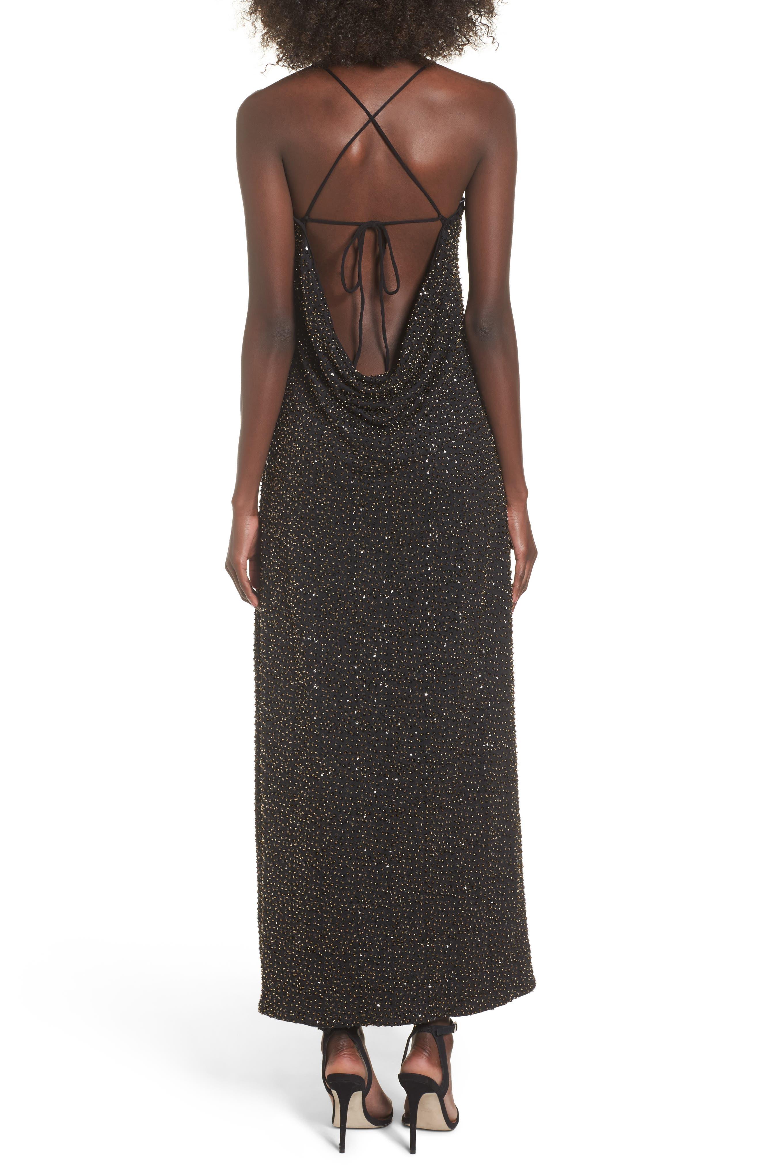Gracen Maxi Dress,                             Alternate thumbnail 2, color,                             Black/ Brass