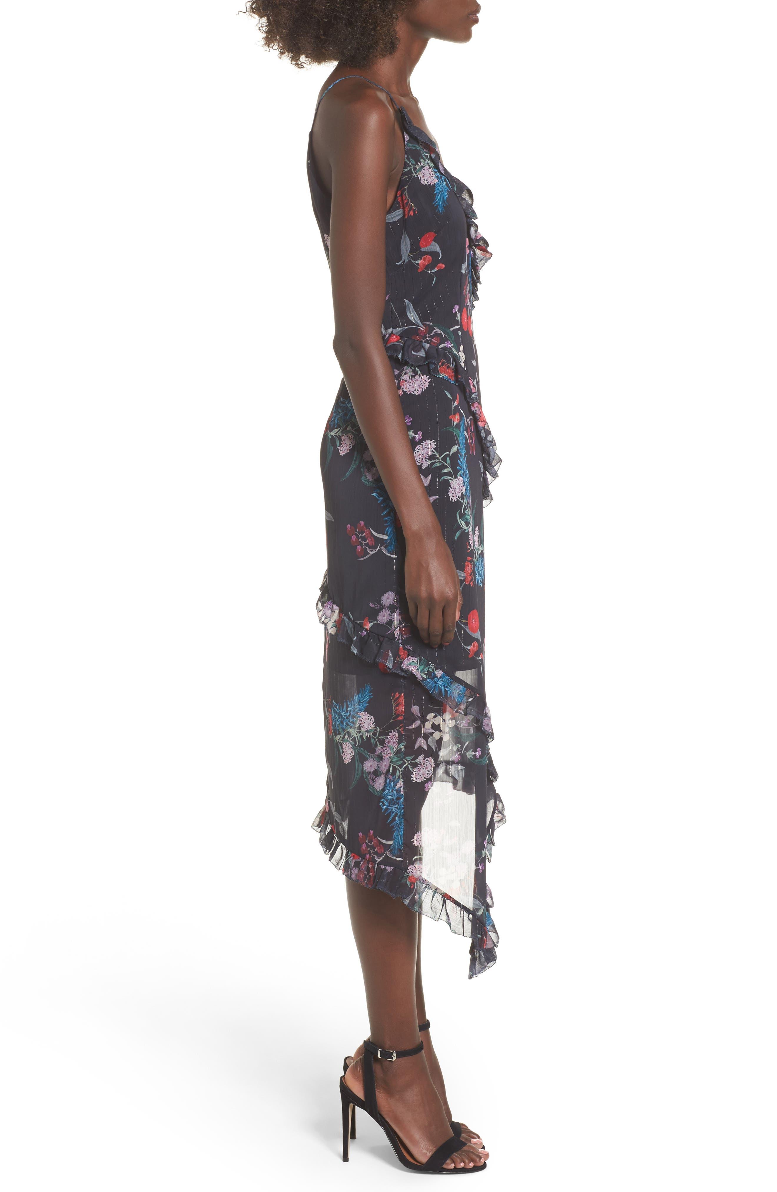 Ruffle Chiffon Midi Dress,                             Alternate thumbnail 4, color,                             Black Botanic Floral
