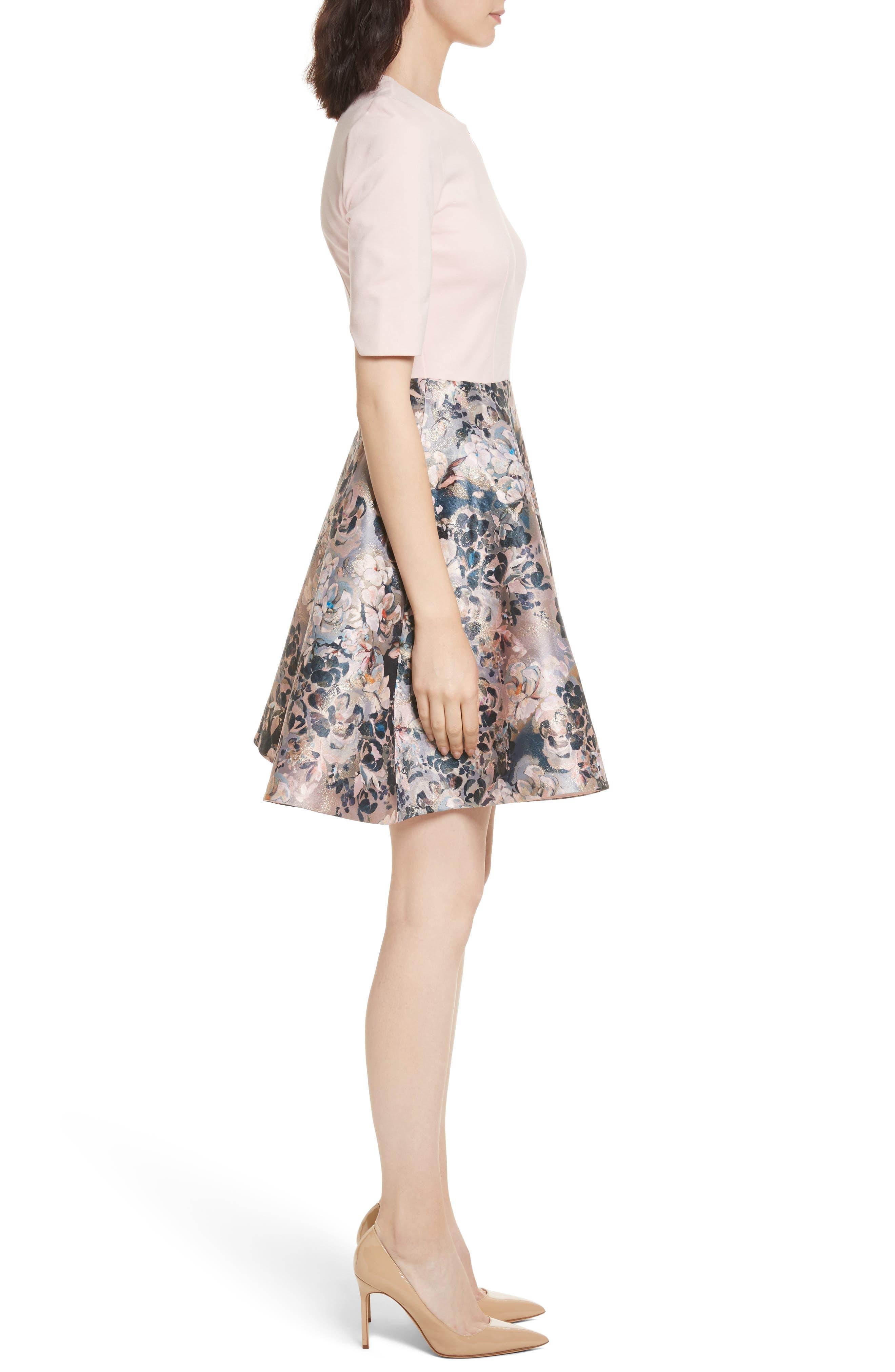 Eloquent Jacquard Skater Dress,                             Alternate thumbnail 3, color,                             Pale Pink