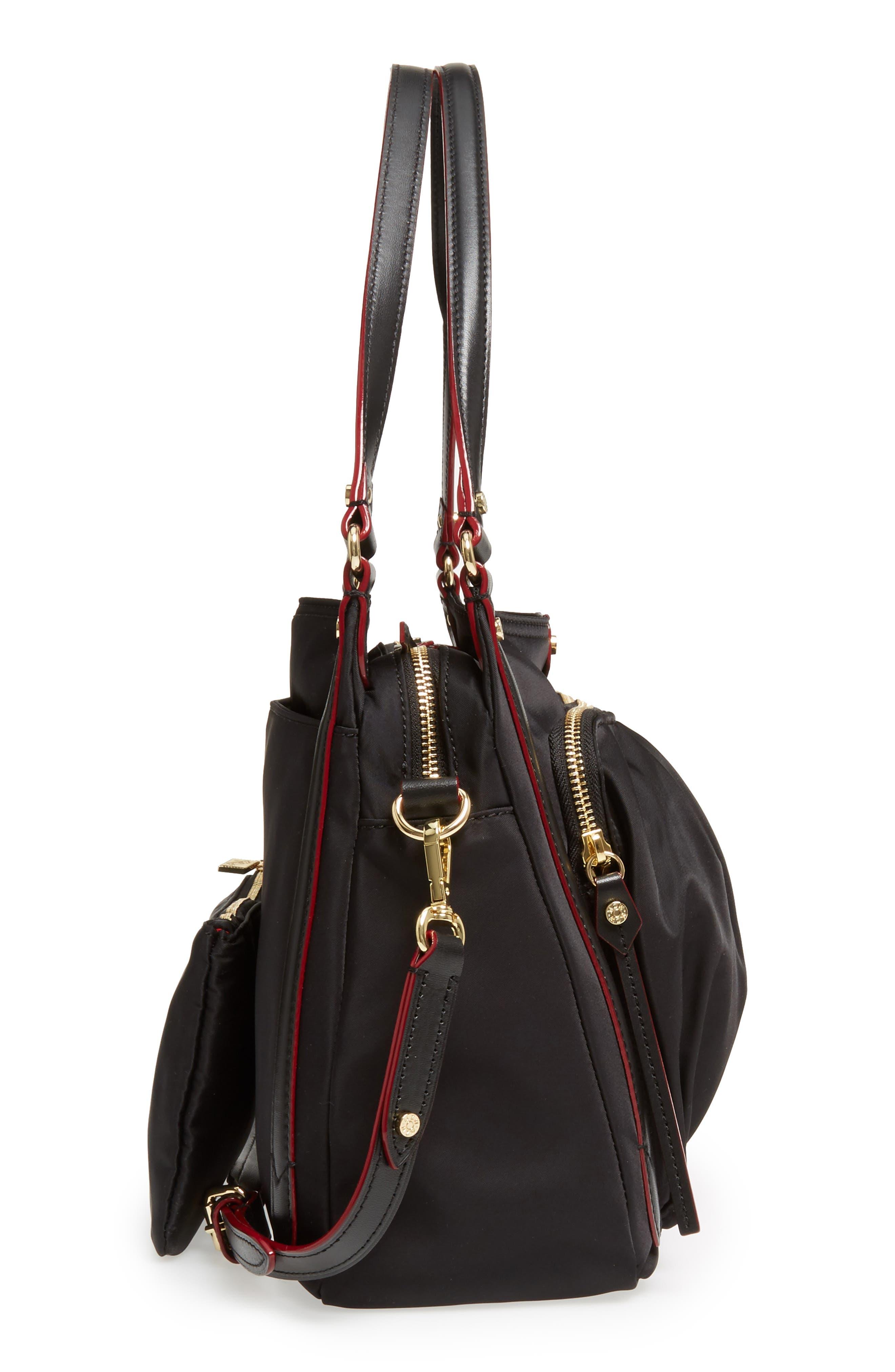 Toni Bedford Nylon Shoulder Bag,                             Alternate thumbnail 5, color,                             Black