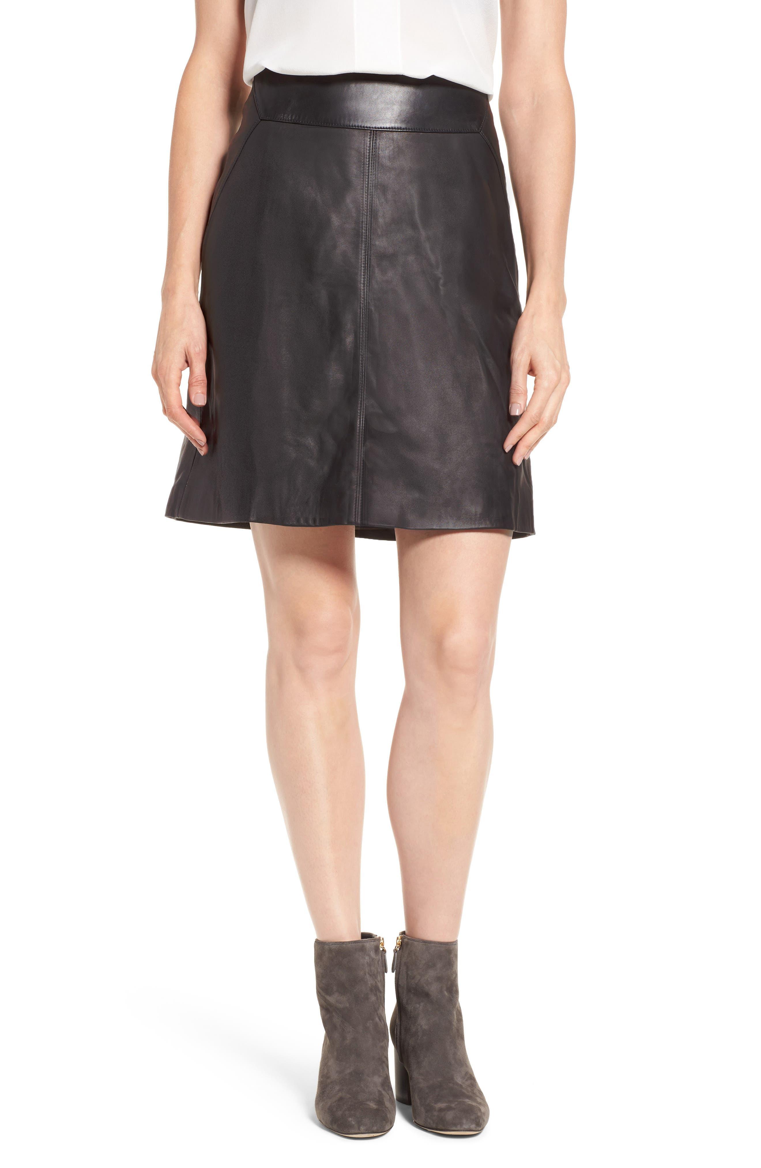 Leather Skirt,                             Main thumbnail 1, color,                             Black