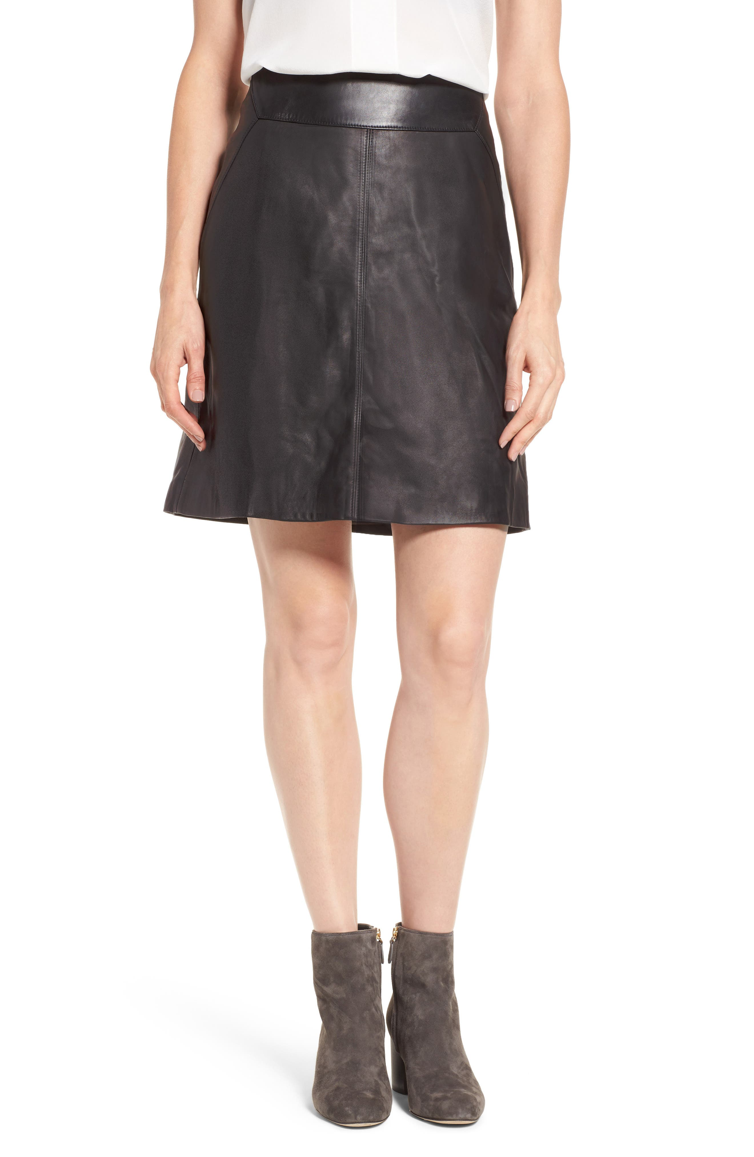 Leather Skirt,                         Main,                         color, Black