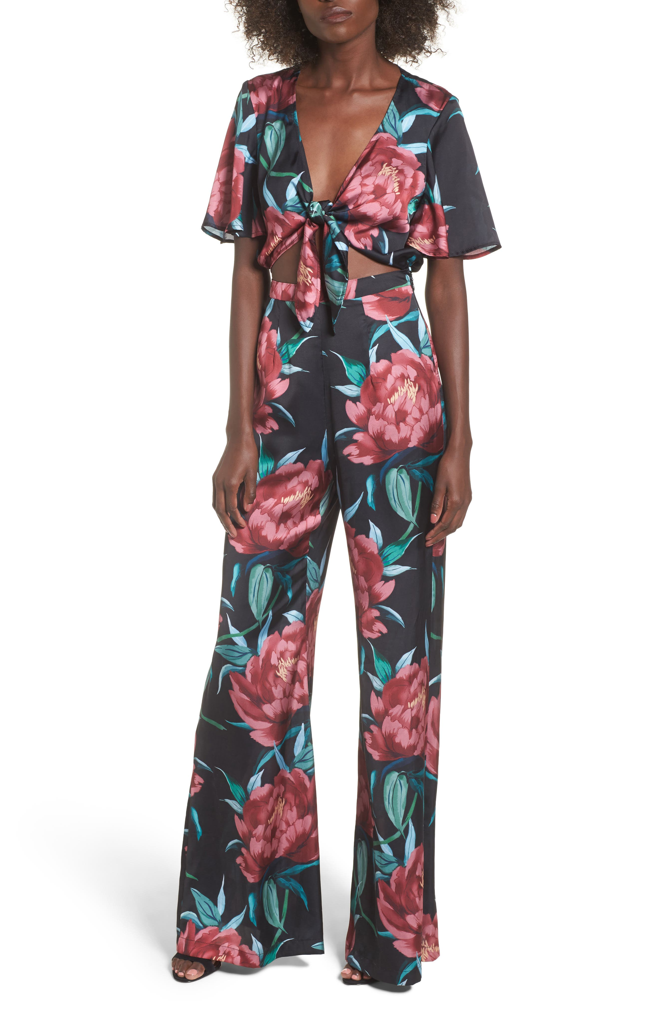 Jenna Tie Waist Jumpsuit,                         Main,                         color, Ruby Bloom
