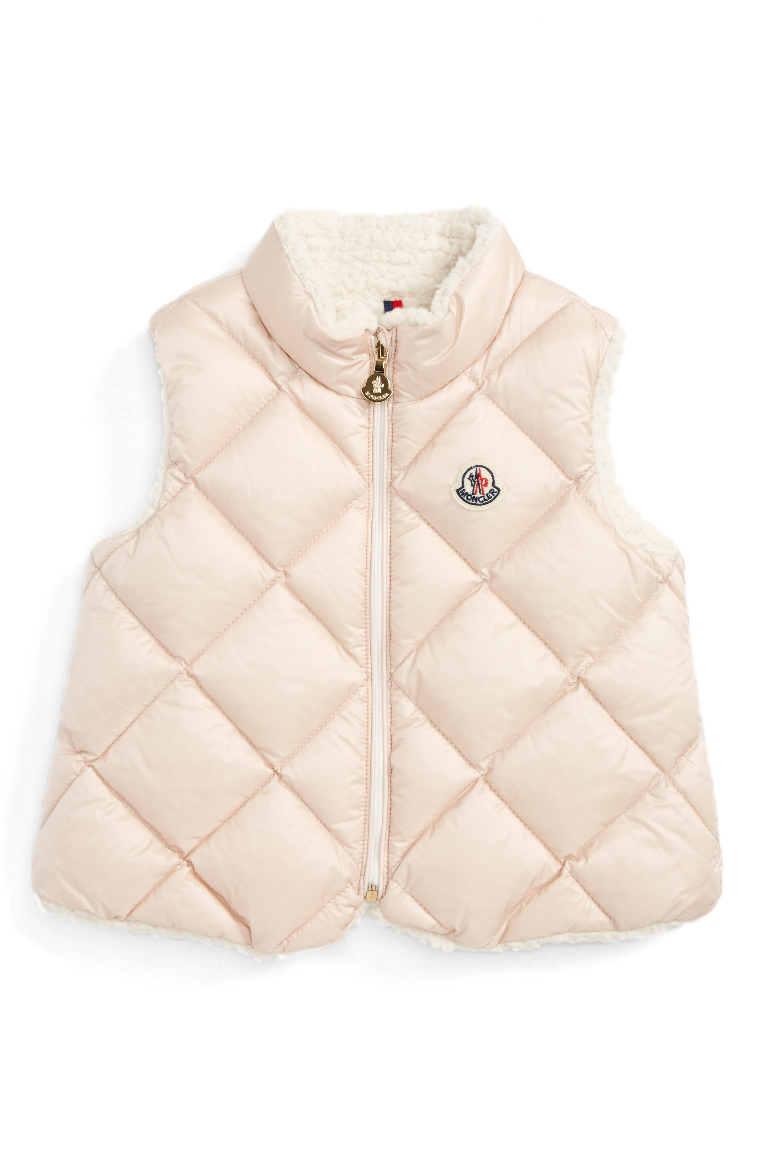 Main Image - Moncler Ysaline Down & Fleece Lined Vest (Baby Girls & Toddler Girls)