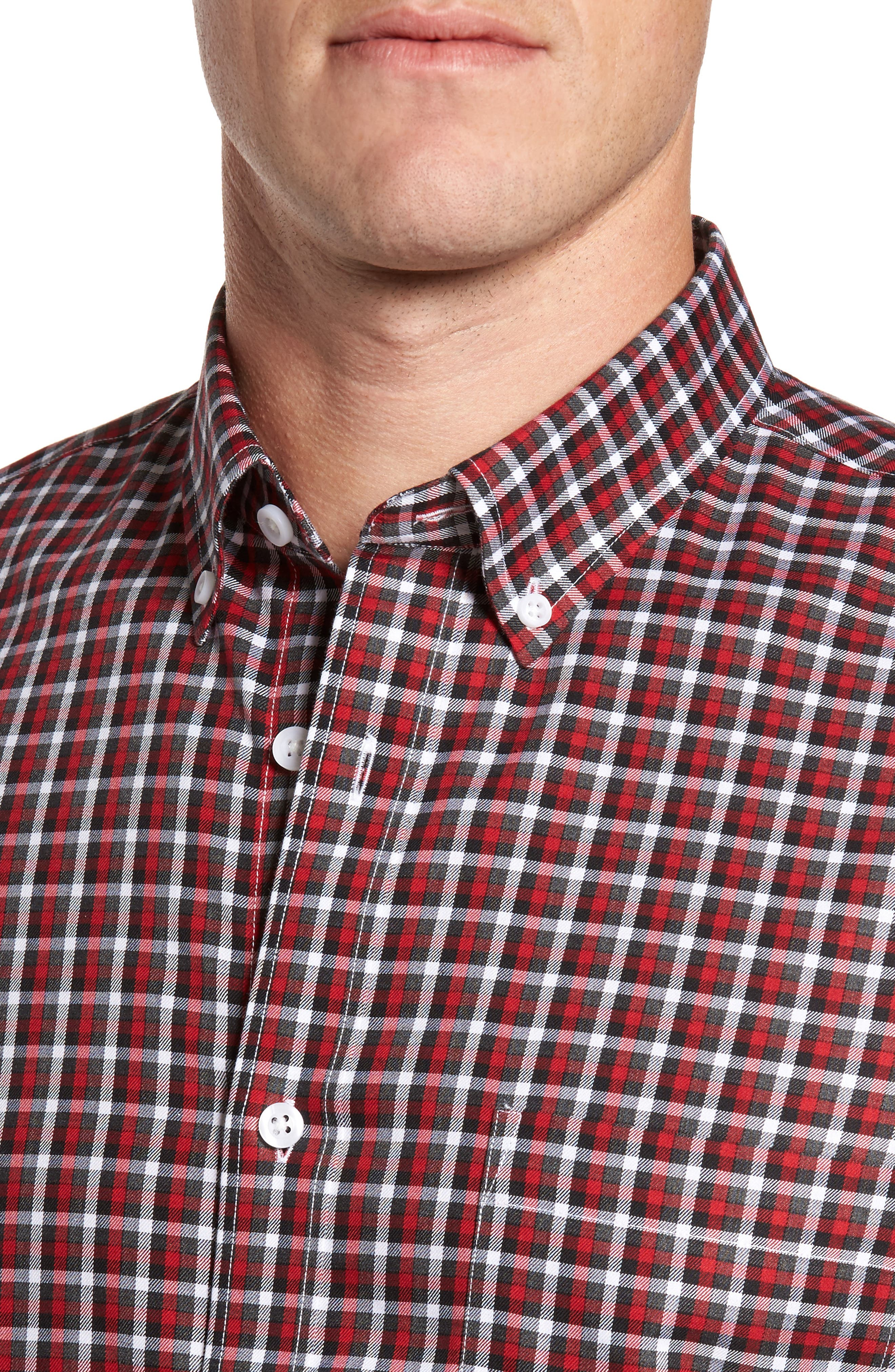Smartcare<sup>™</sup> Regular Fit Plaid Sport Shirt,                             Alternate thumbnail 4, color,                             Red Grey Heather Check