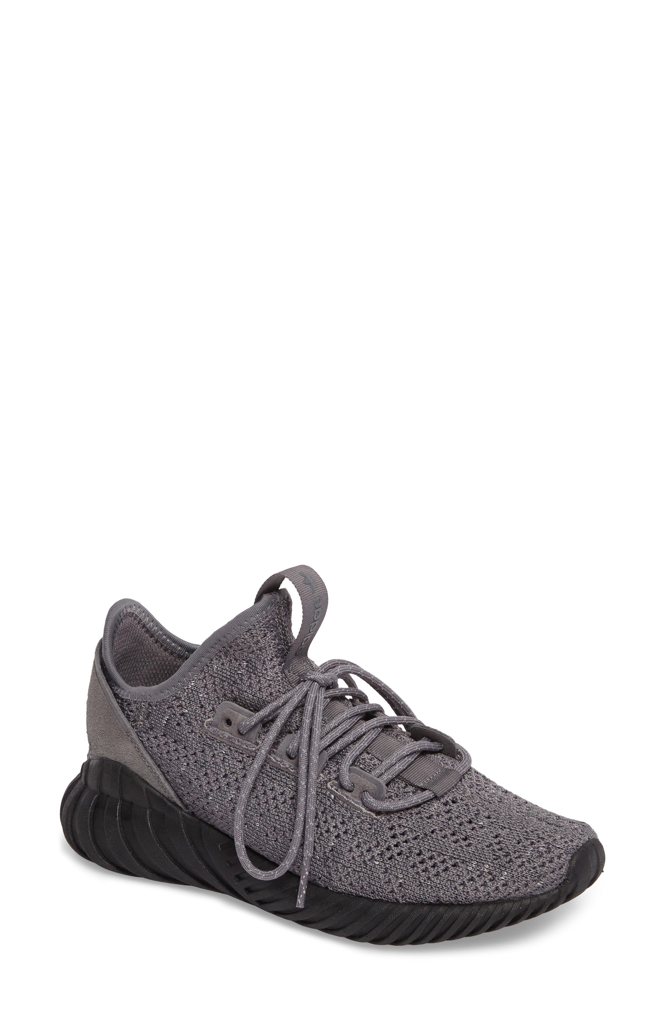 Tubular Doom Sock Primeknit Sneaker,                         Main,                         color, Grey / Core Black/ White