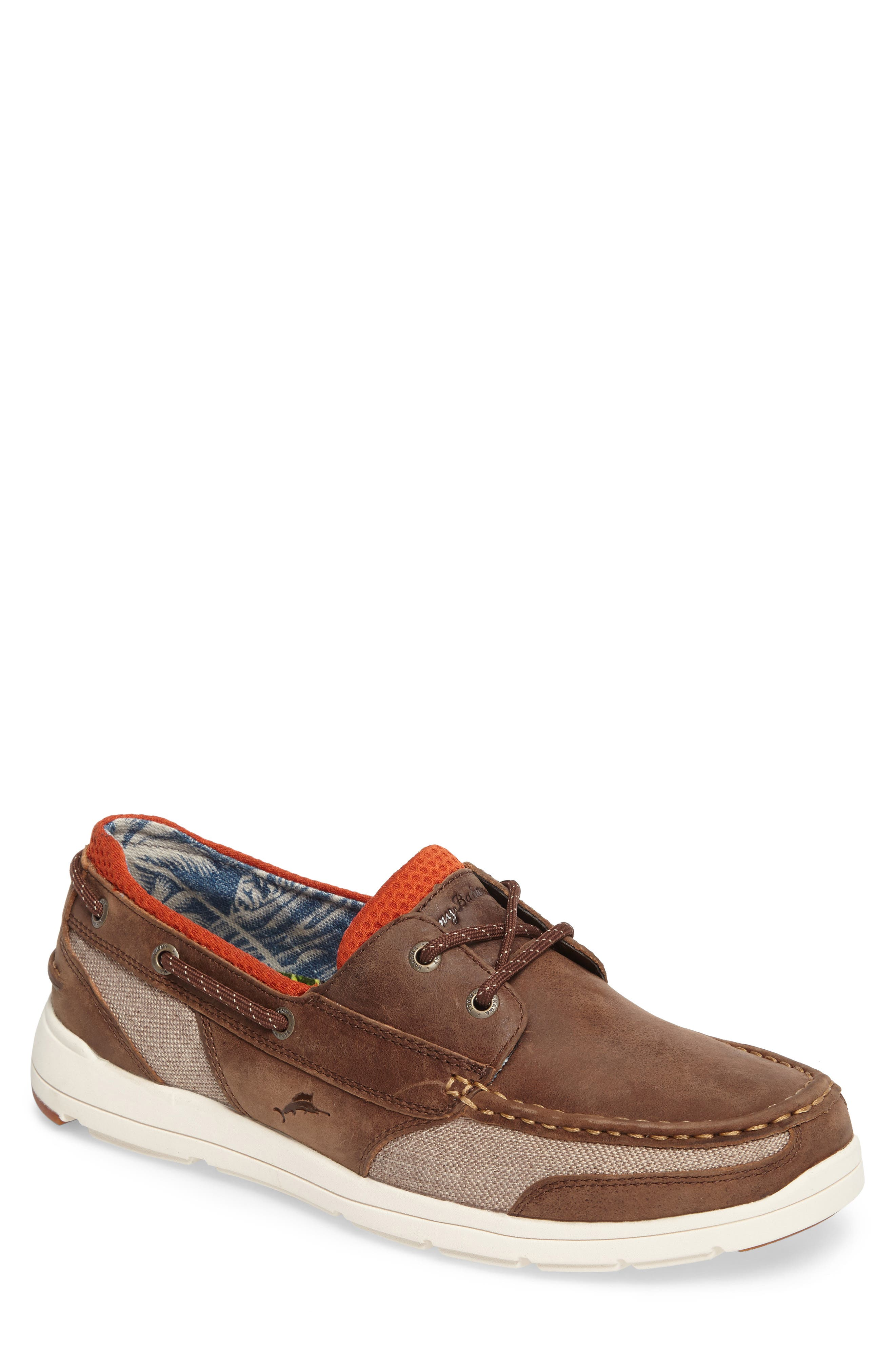 Spectator Boat Shoe,                             Main thumbnail 1, color,                             Dark Brown Leather/ Mesh
