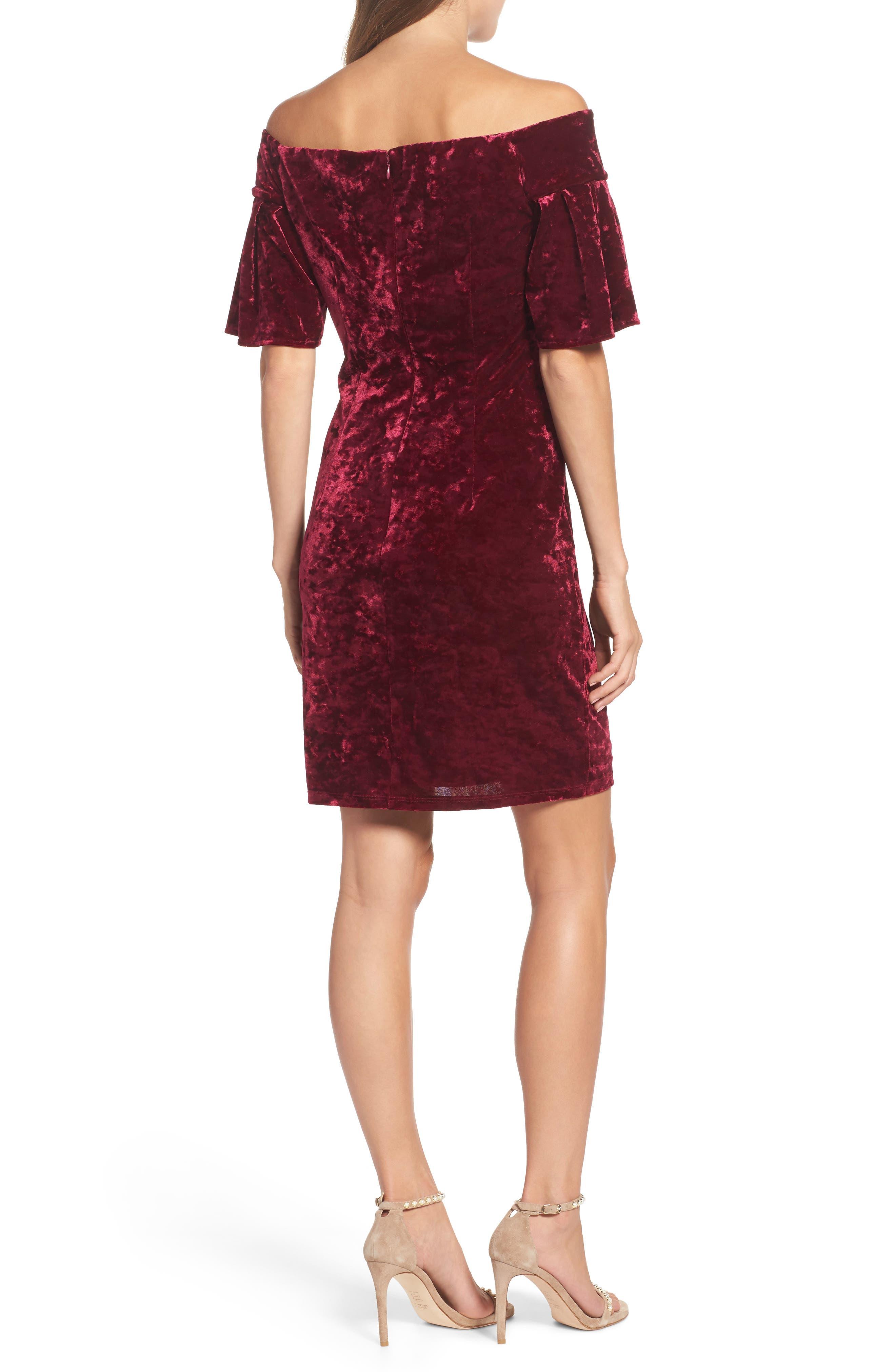 Off the Shoulder Velvet Dress,                             Alternate thumbnail 2, color,                             Wine