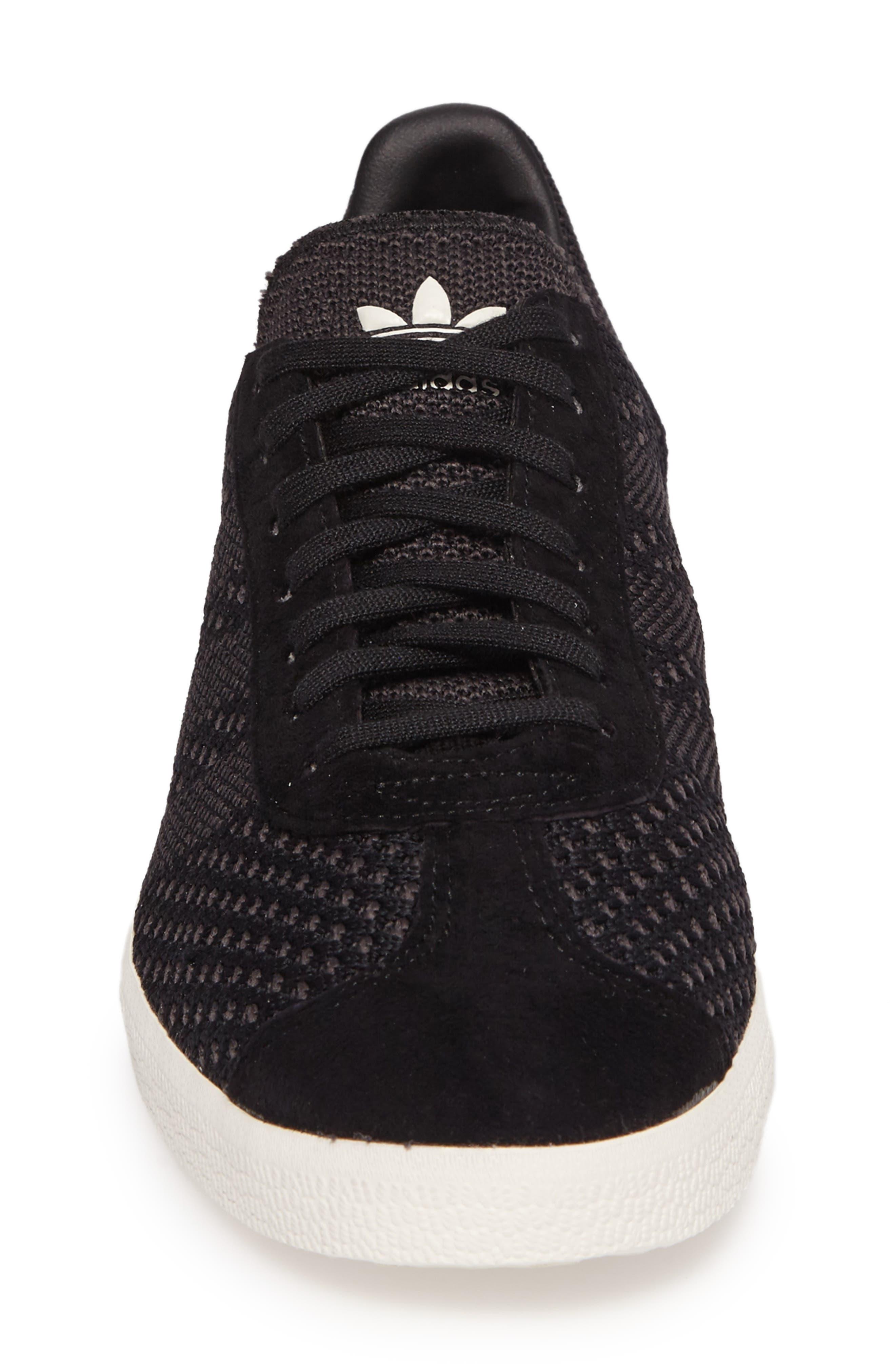 Gazelle Primeknit Sneaker,                             Alternate thumbnail 4, color,                             Core Black/ Off White