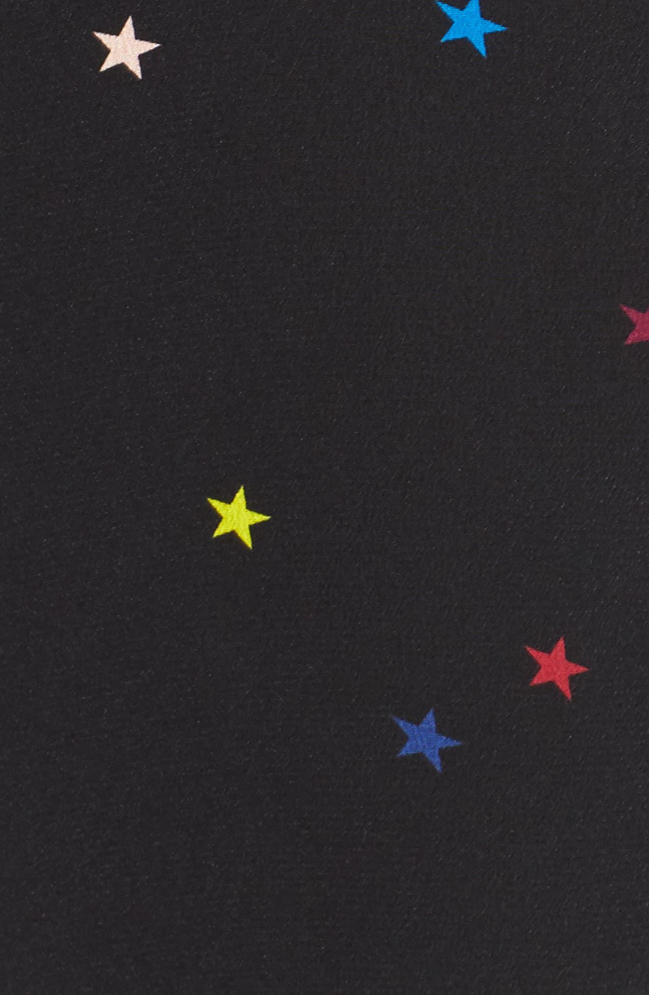 Kate Star Print Silk Blouse,                             Alternate thumbnail 5, color,                             Rainbow Stars/ Black