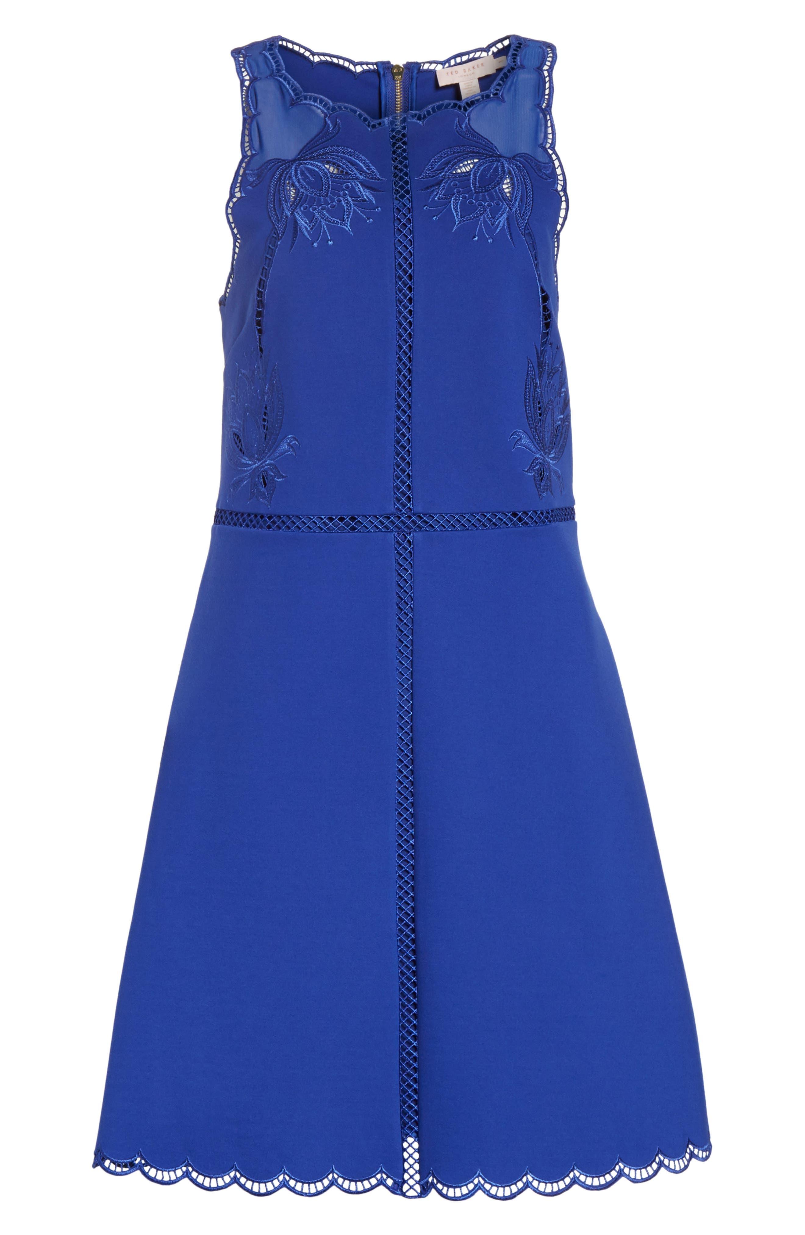Codi Embroidered Scallop A-Line Dress,                             Alternate thumbnail 6, color,                             Mid Blue