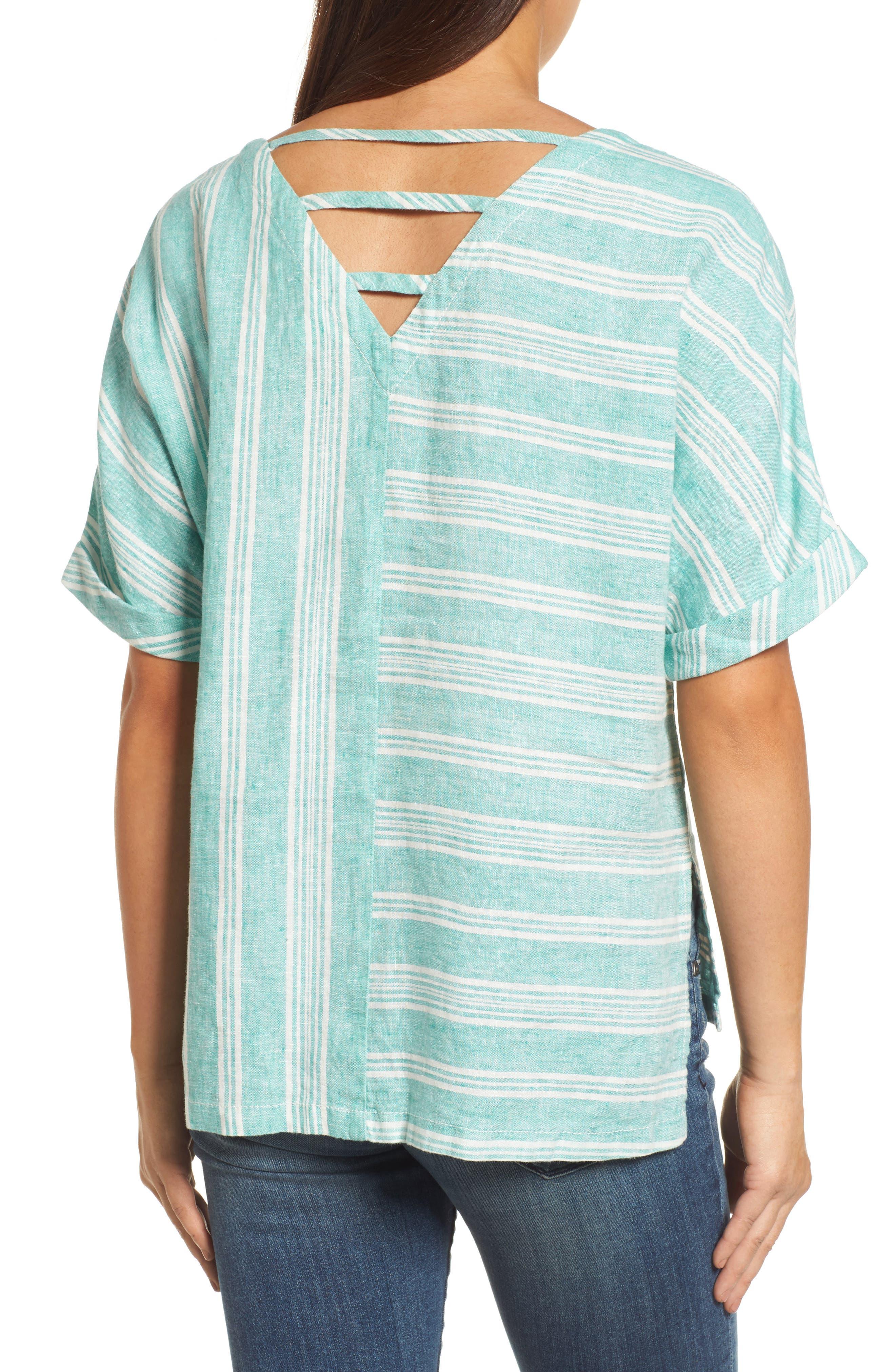 V-Back Linen Top,                             Alternate thumbnail 2, color,                             Green- Ivory Stripe