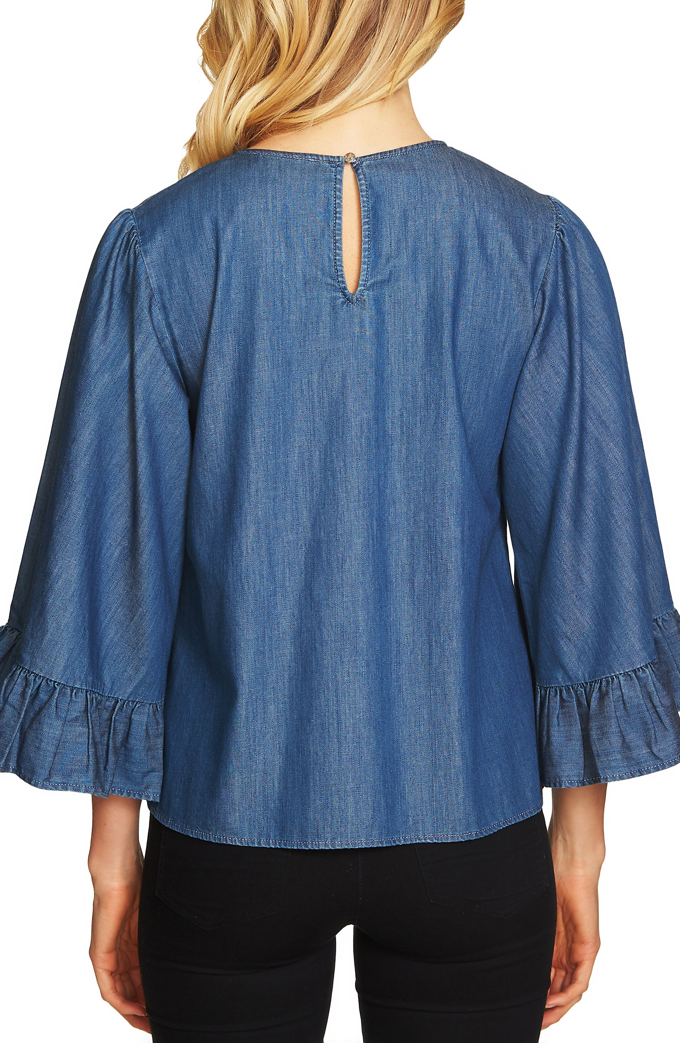 Denim Ruffle Cuff Top,                             Alternate thumbnail 2, color,                             Authentic