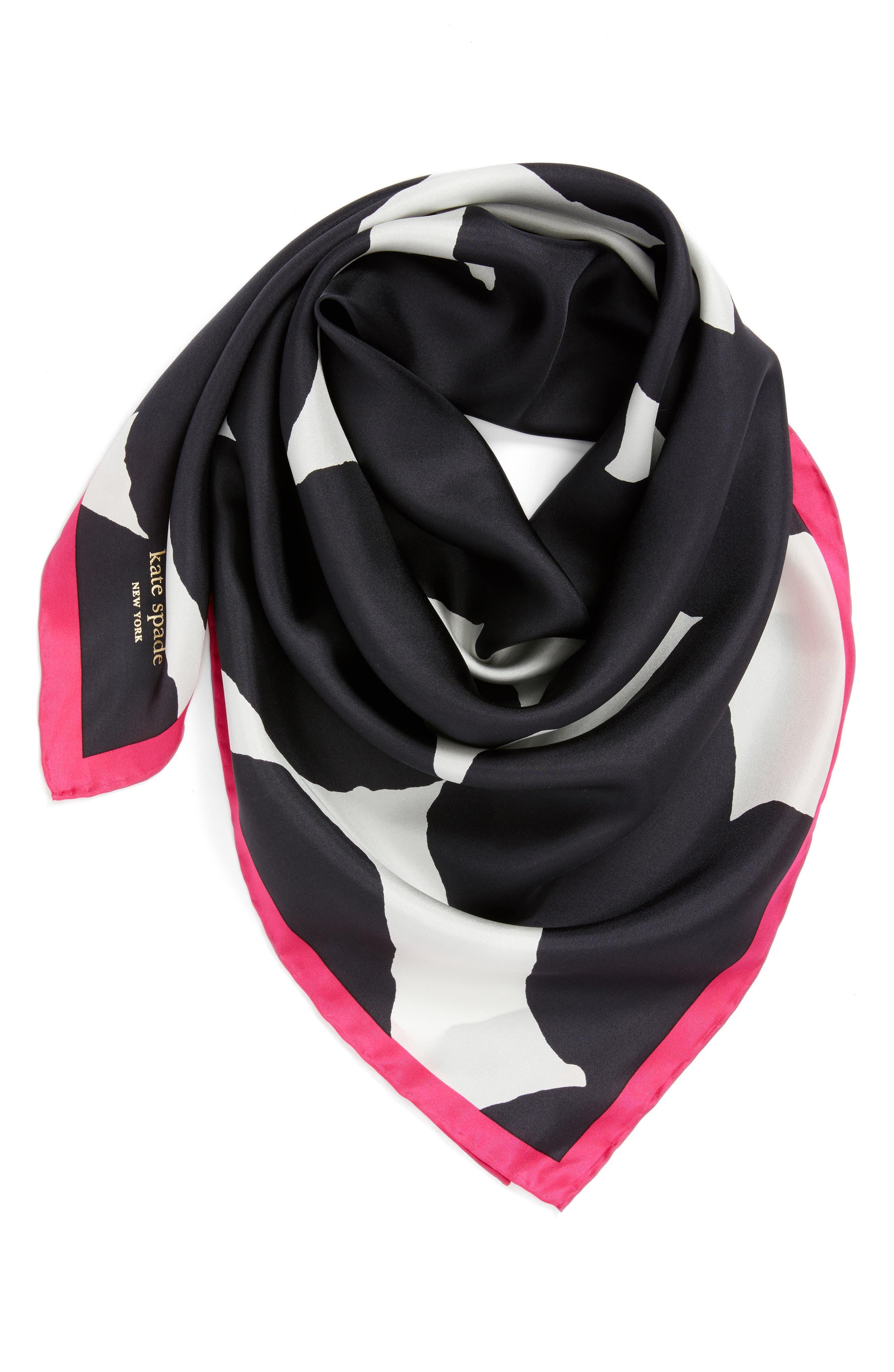 large dot square silk scarf,                             Alternate thumbnail 2, color,                             Black