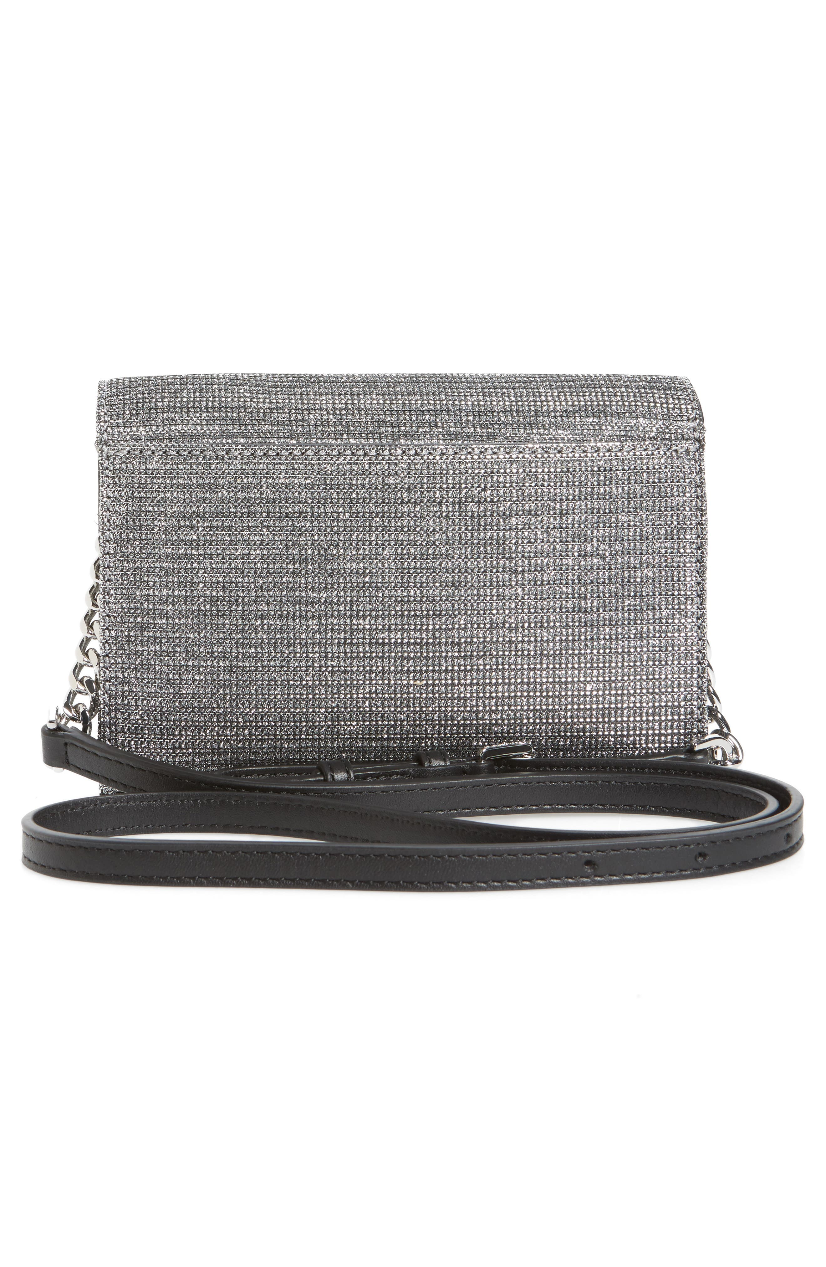 Medium Ruby Convertible Leather Clutch,                             Alternate thumbnail 3, color,                             Black/ Silver