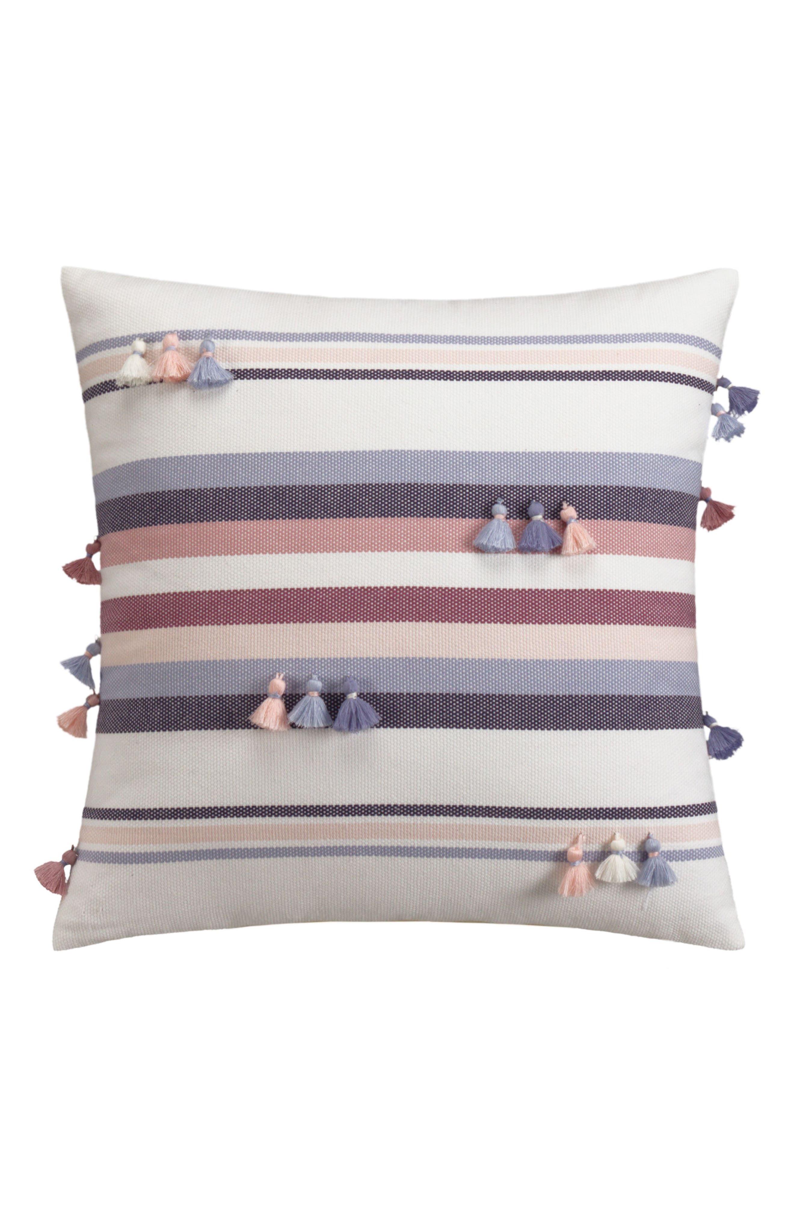 Tassel Stripe Accent Pillow,                             Main thumbnail 1, color,                             Purple Multi