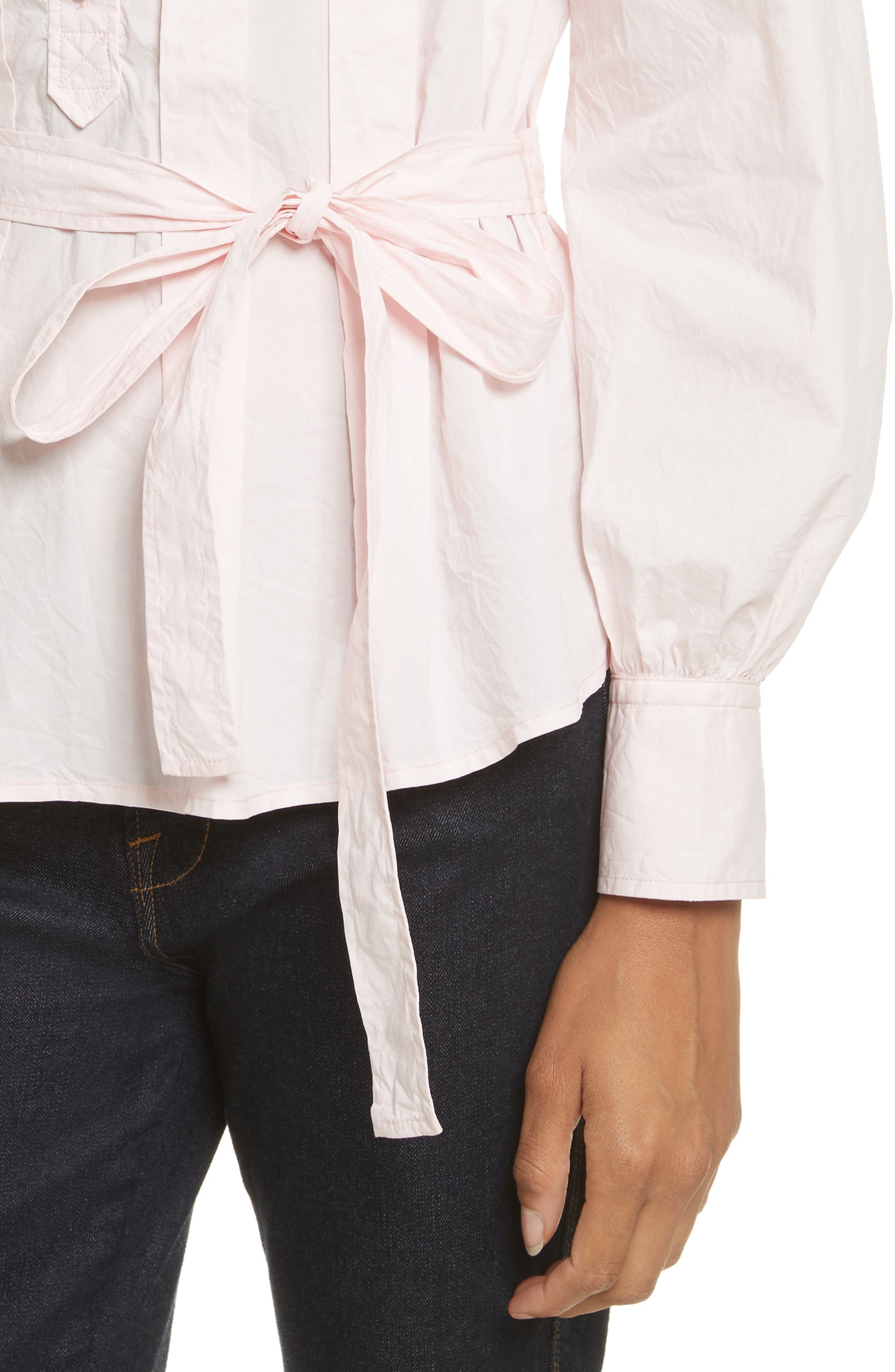 Belted Poplin Top,                             Alternate thumbnail 4, color,                             Cherry Blossom