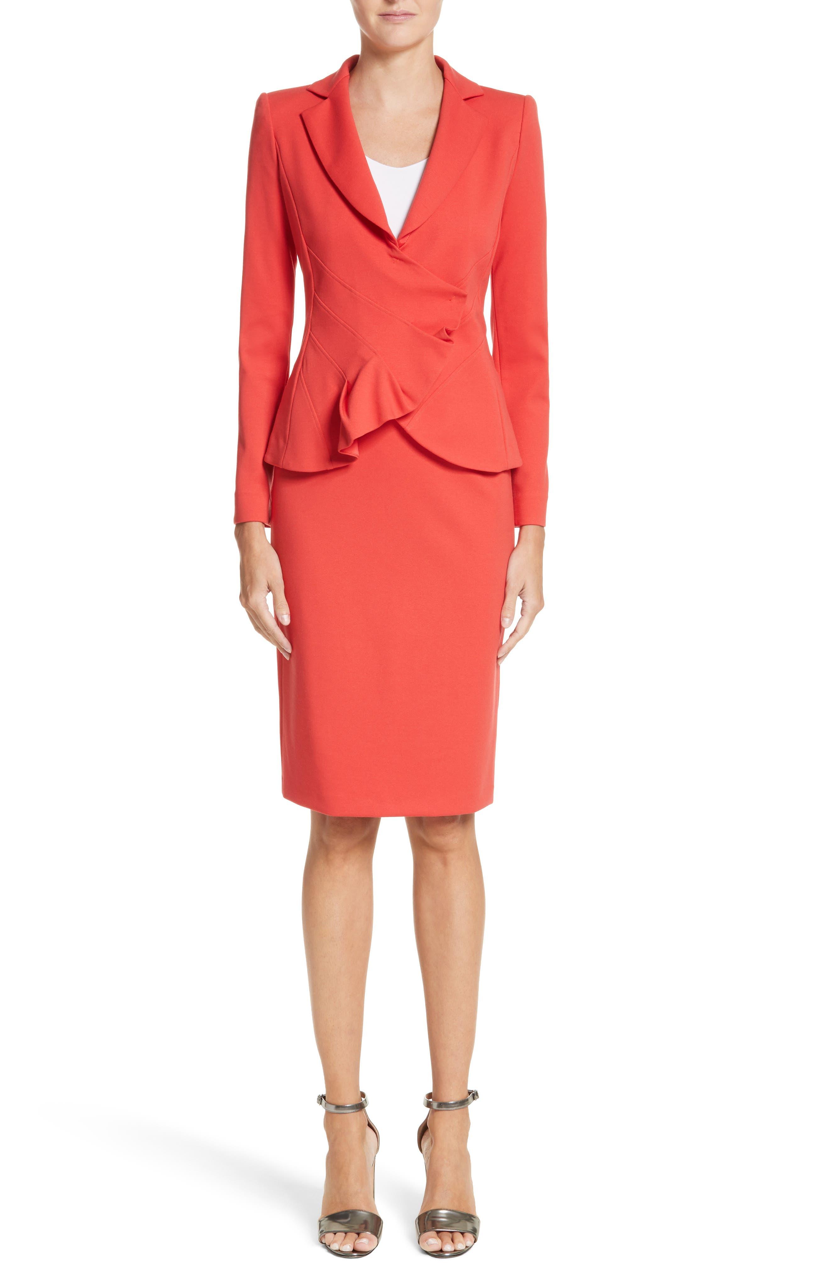 Milano Jersey Pencil Skirt,                             Alternate thumbnail 8, color,                             Solid Bright Orange