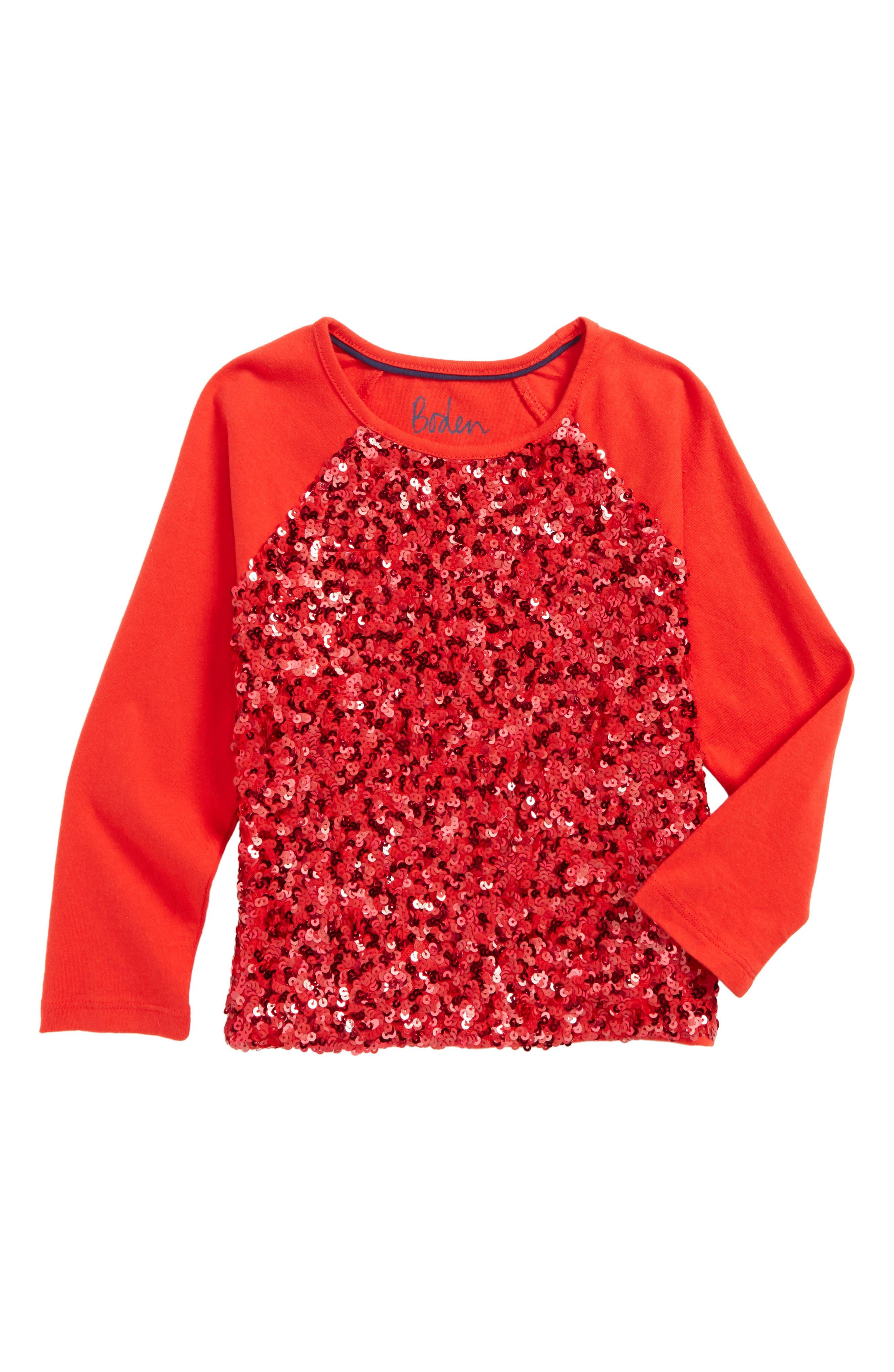 Sequin Raglan Tee,                         Main,                         color, Ladybird Red