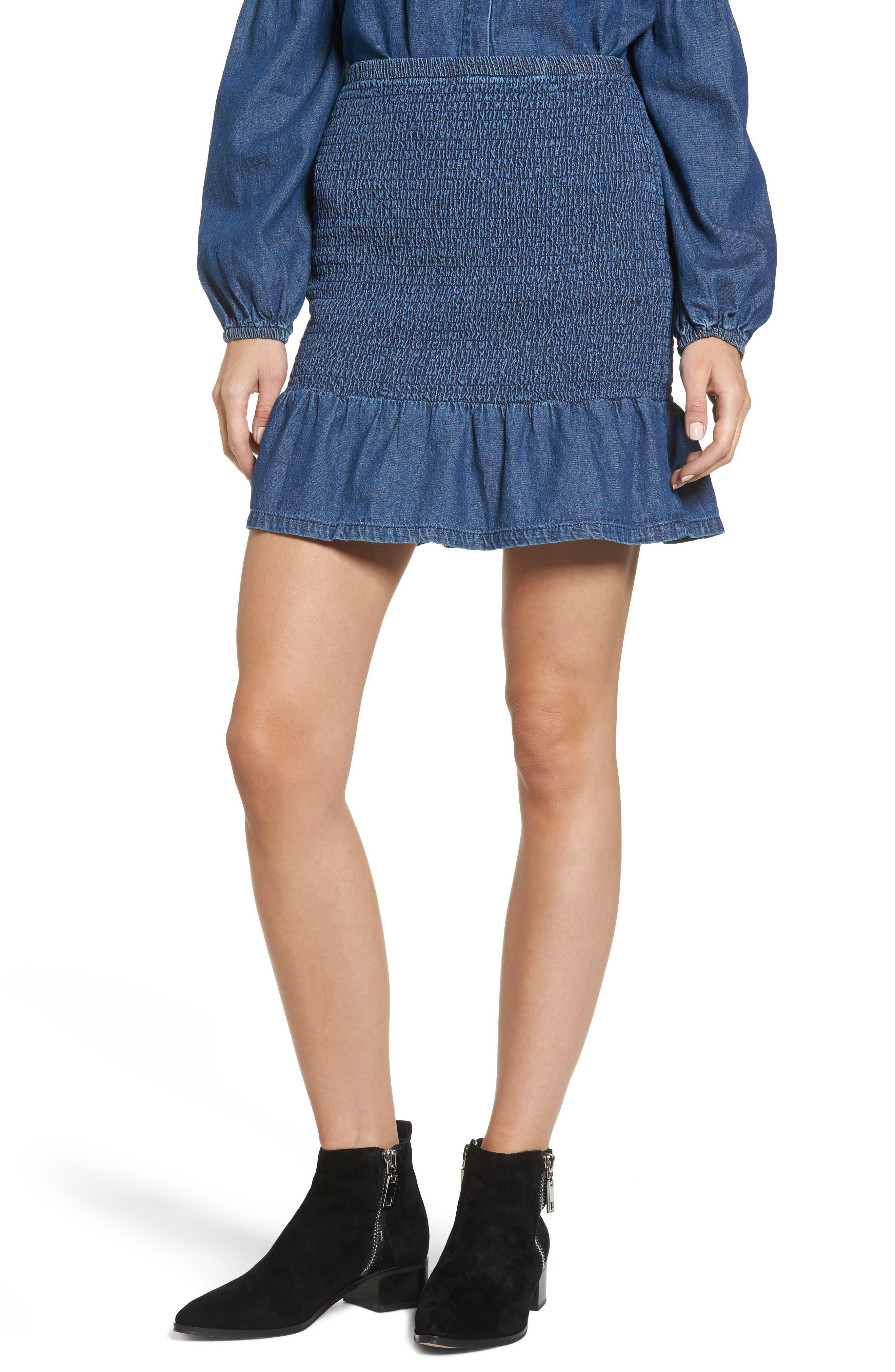 Sentiment Smocked Denim Skirt,                             Main thumbnail 1, color,                             Washed Ink