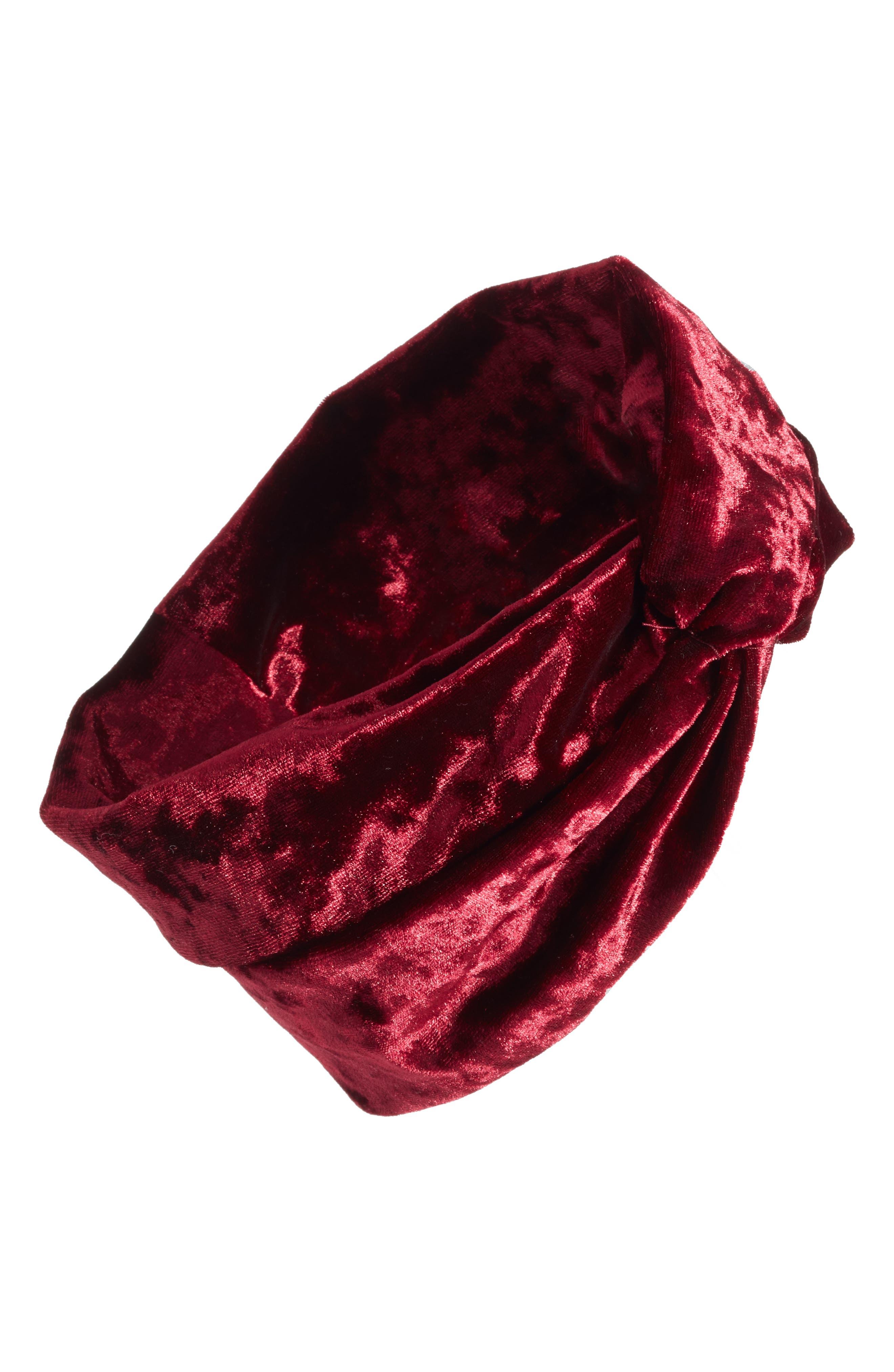 Velvet Turban Head Wrap,                         Main,                         color, Burgundy