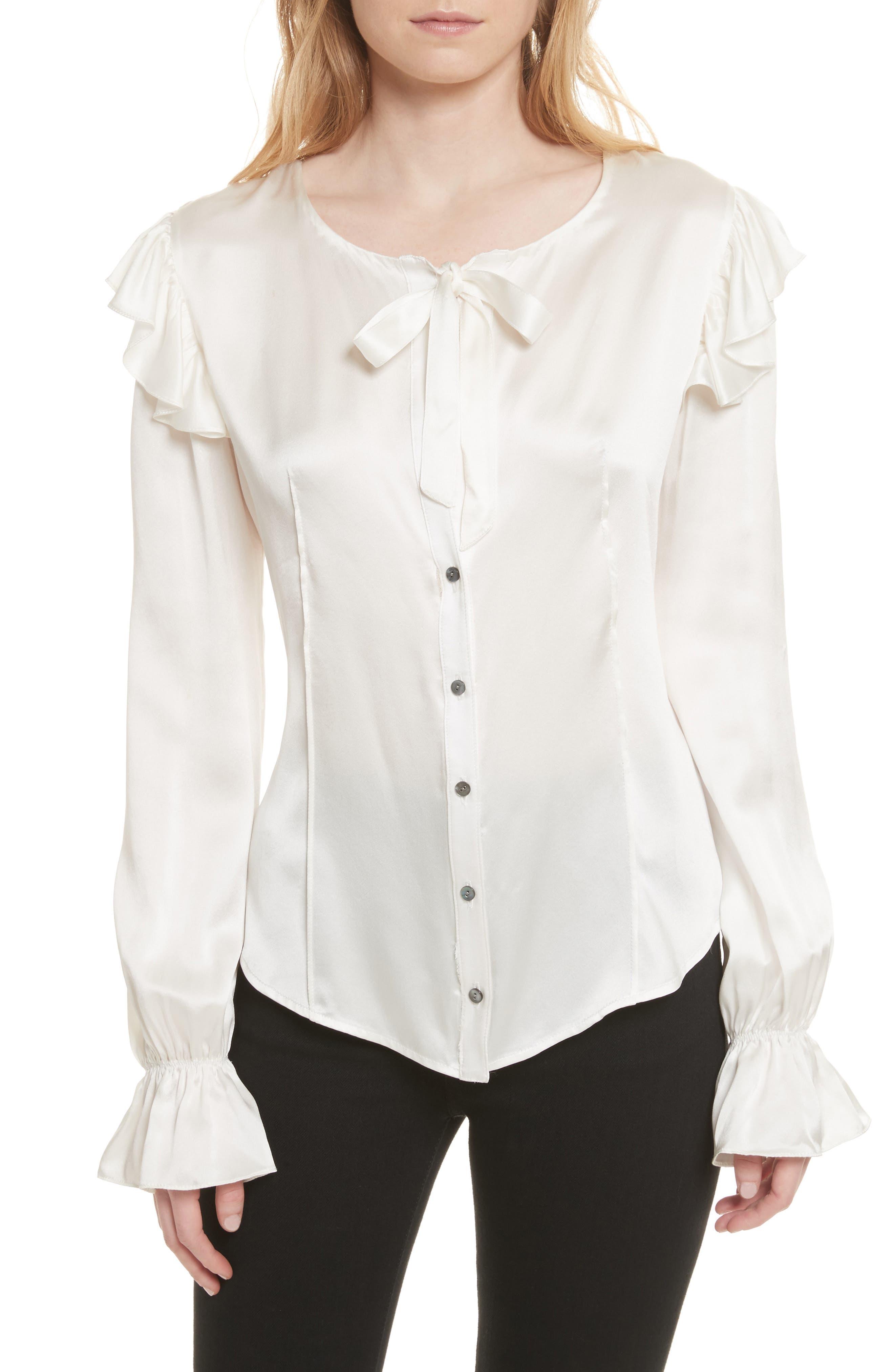 Cassanova Tie Neck Silk Blouse,                         Main,                         color, Ivory