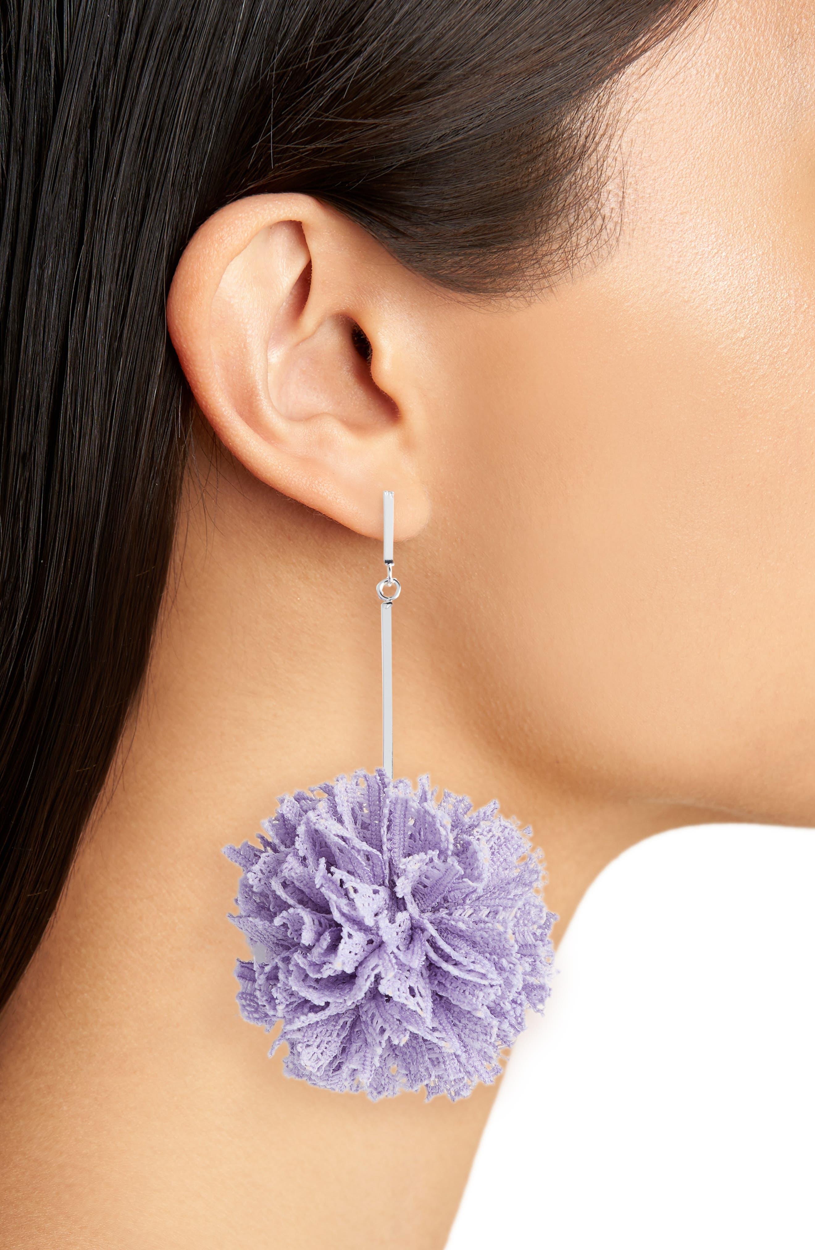 Lace Pom Pom Earrings,                             Alternate thumbnail 2, color,                             Silver/ Lavender