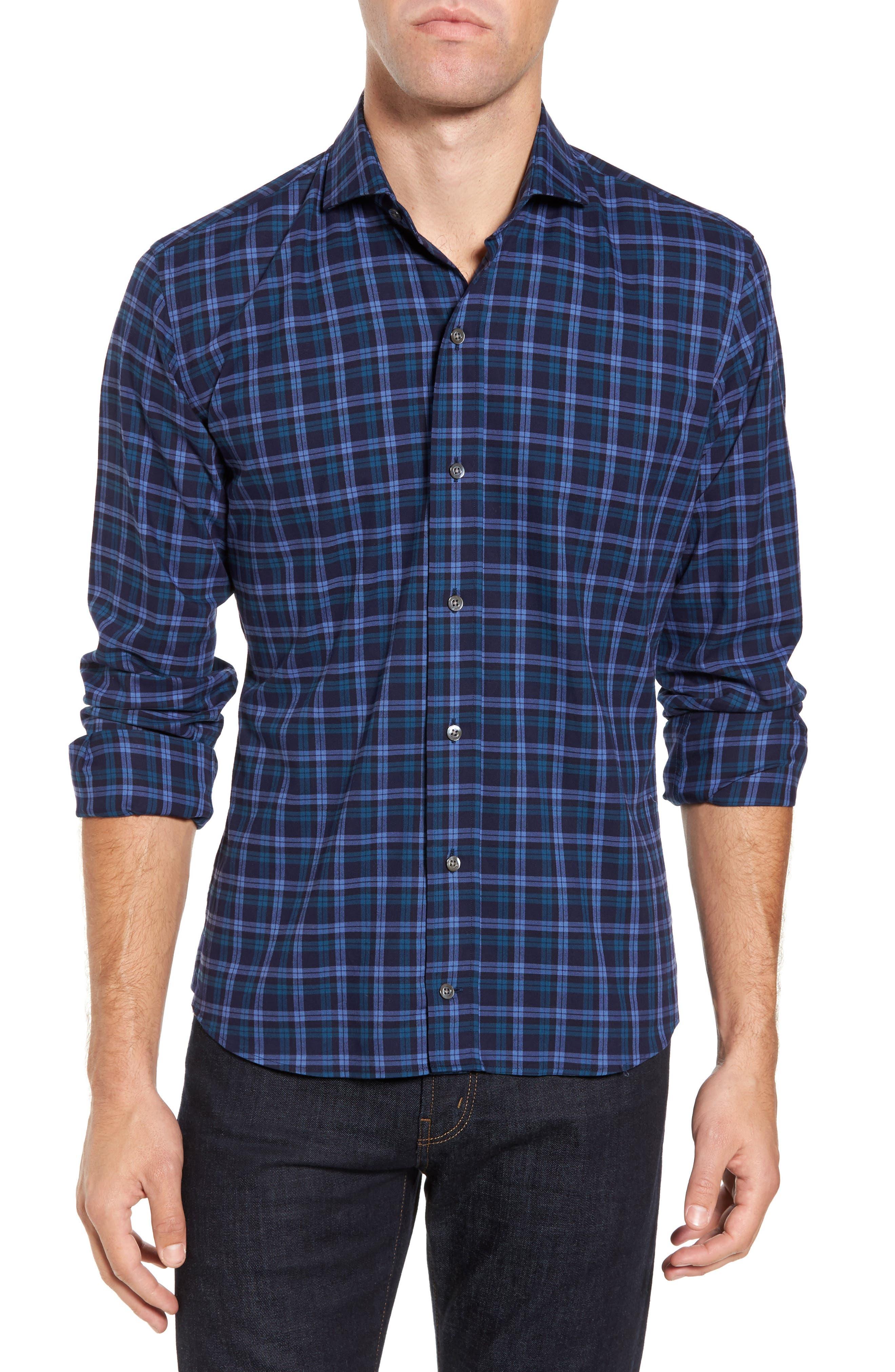 Alternate Image 1 Selected - Ledbury The Blue Goode Slim Fit Plaid Sport Shirt