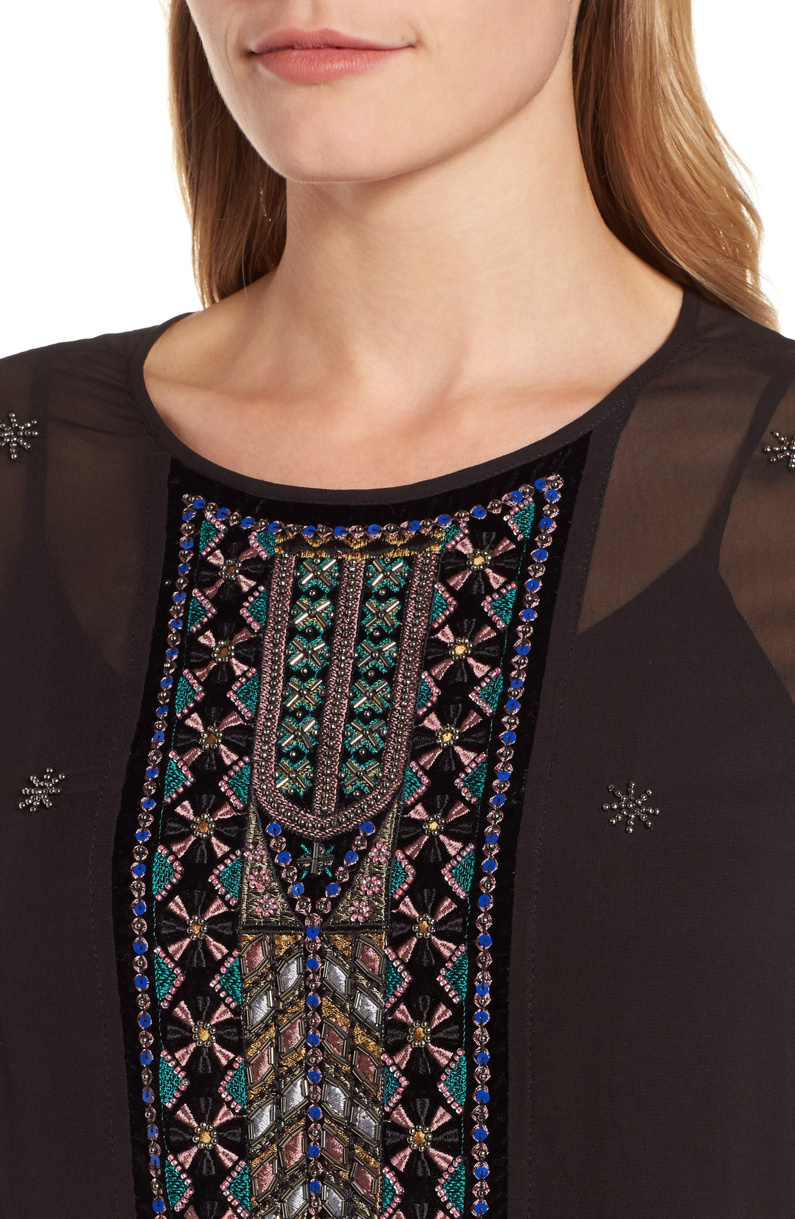 Beaded Velvet Georgette Dress,                             Alternate thumbnail 4, color,                             Black