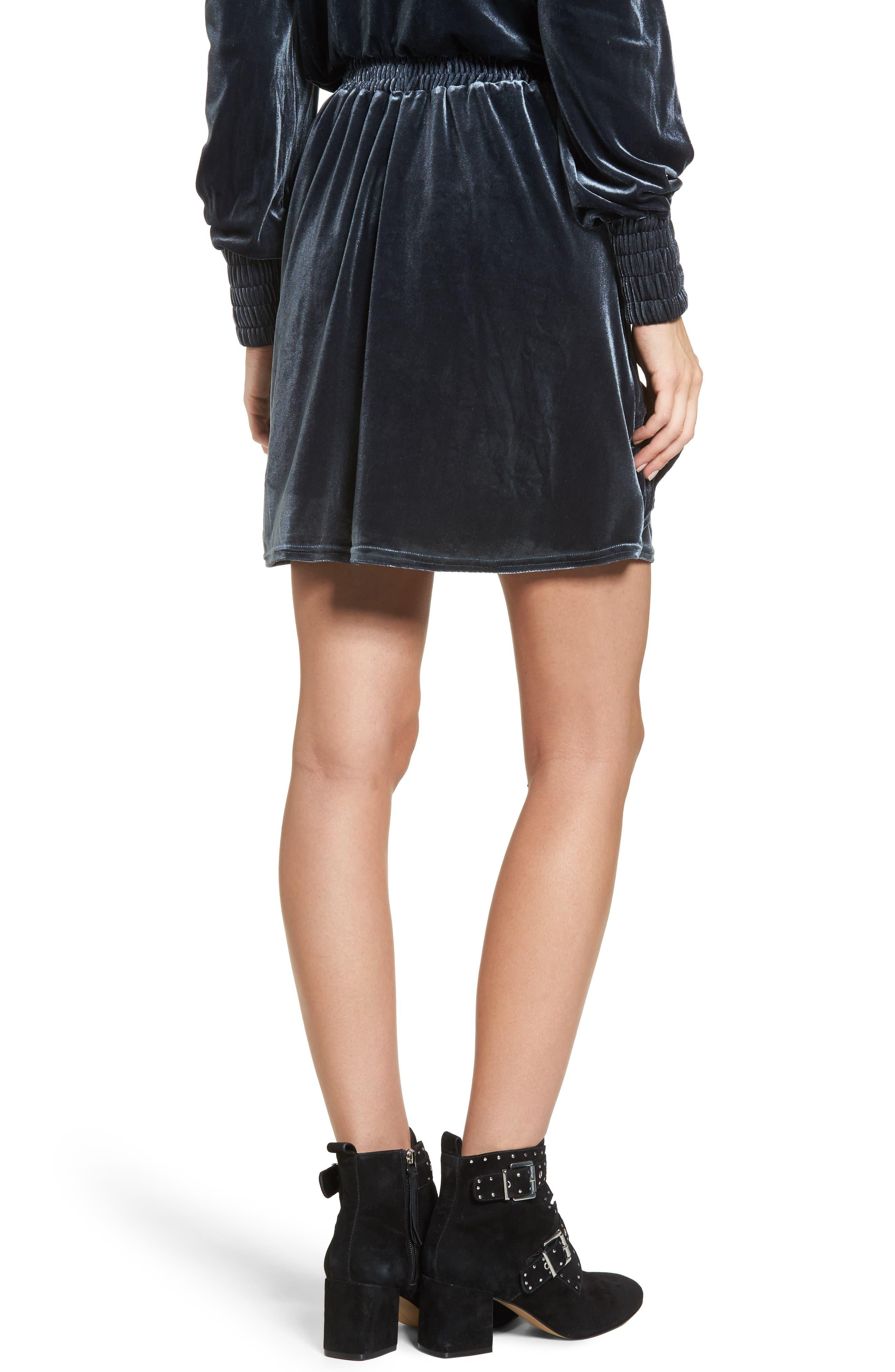 Exhibition Ruffle Velvet Skirt,                             Alternate thumbnail 3, color,                             Slate