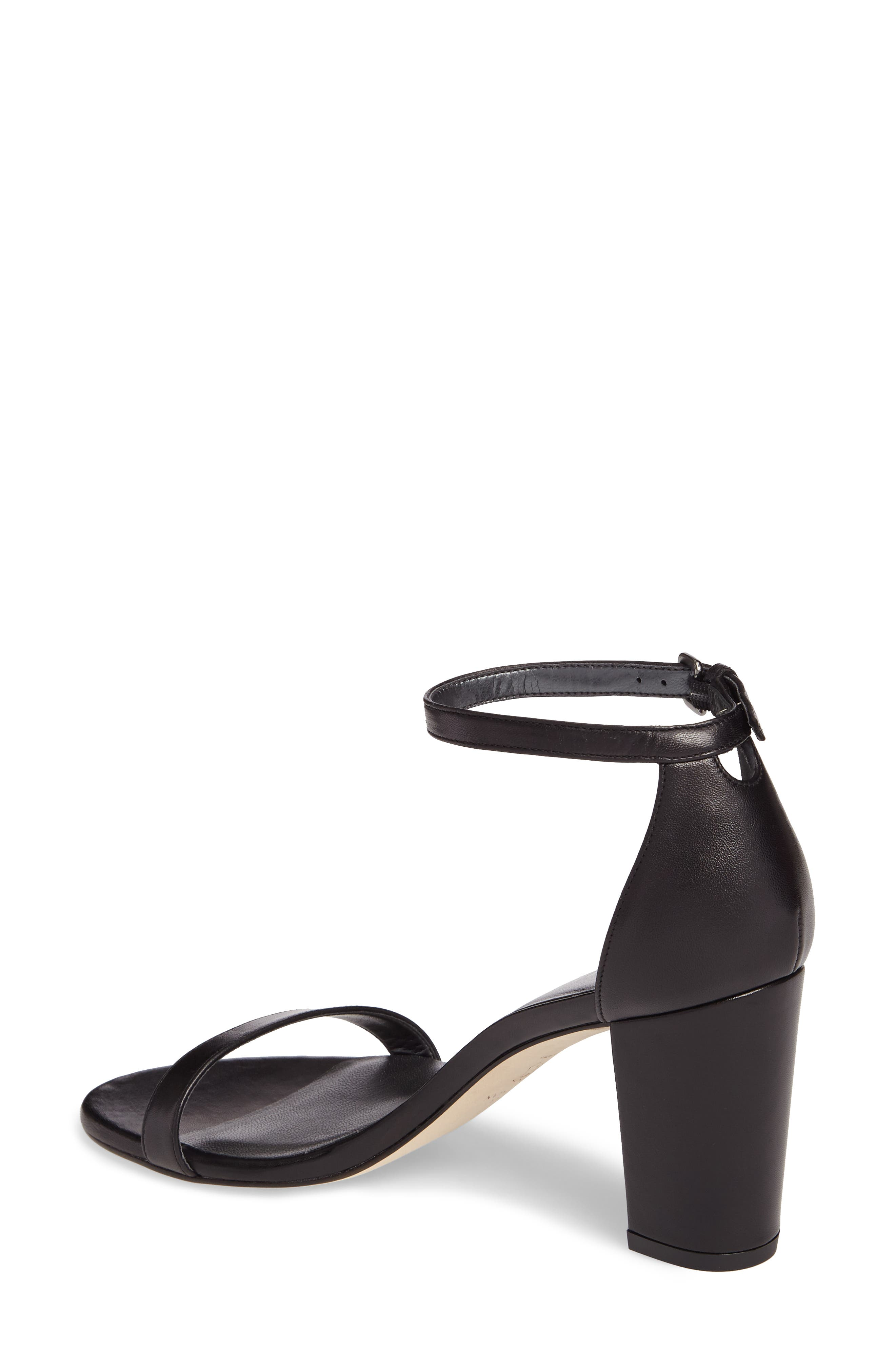 NearlyNude Ankle Strap Sandal,                             Alternate thumbnail 5, color,                             Black Nappa