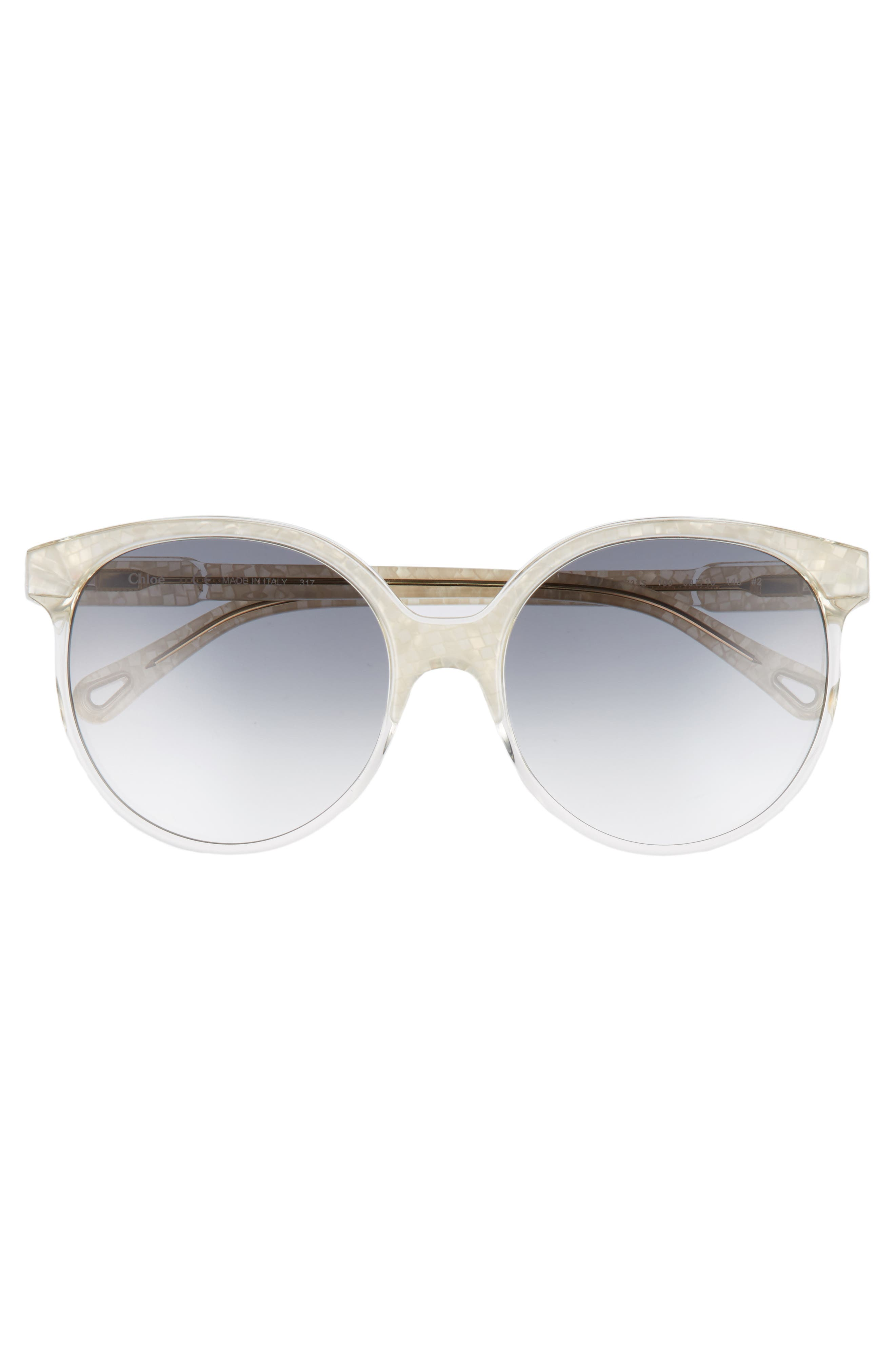 59mm Round Sunglasses,                             Alternate thumbnail 3, color,                             Pearl/ Champagne