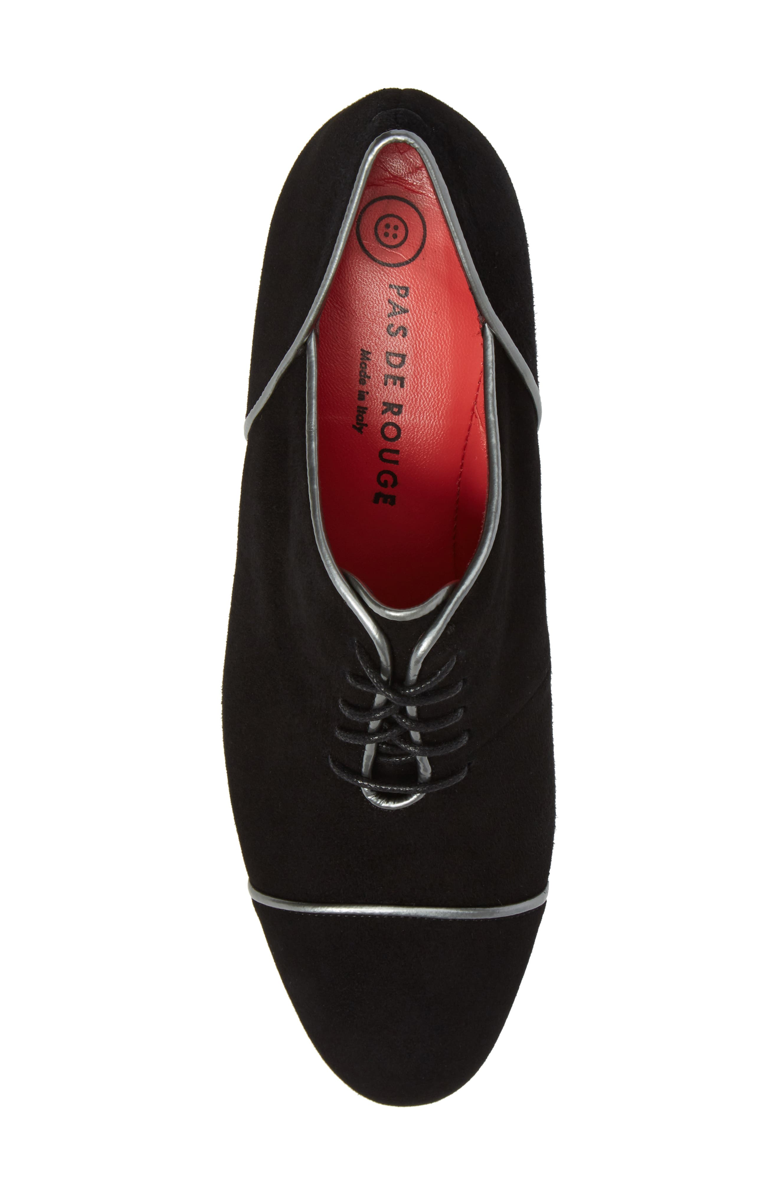 Lace-Up Pump,                             Alternate thumbnail 5, color,                             Black Suede/ Silver Leather