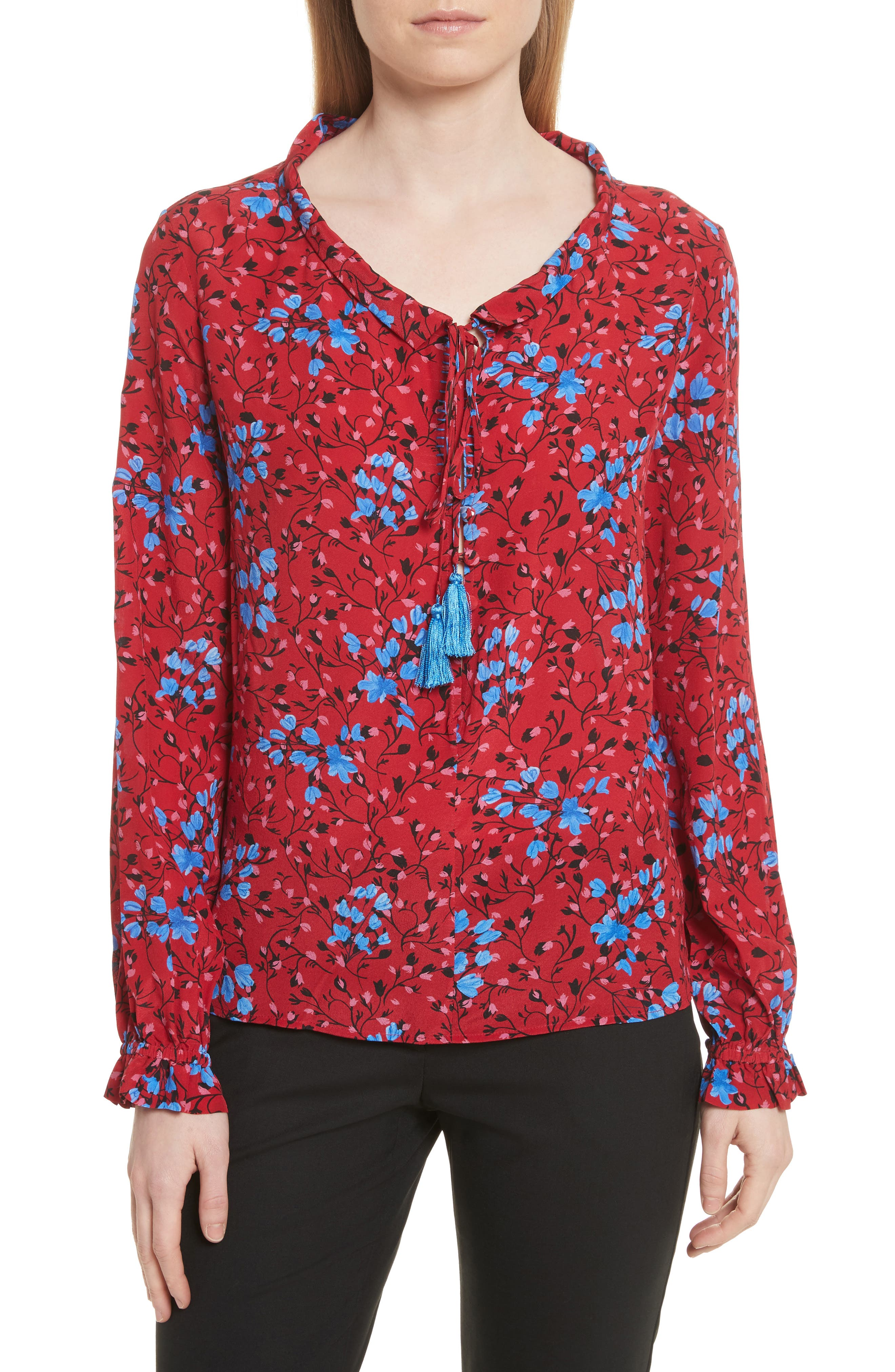 Ali Floral Print Silk Top,                         Main,                         color, Scarlet Posey
