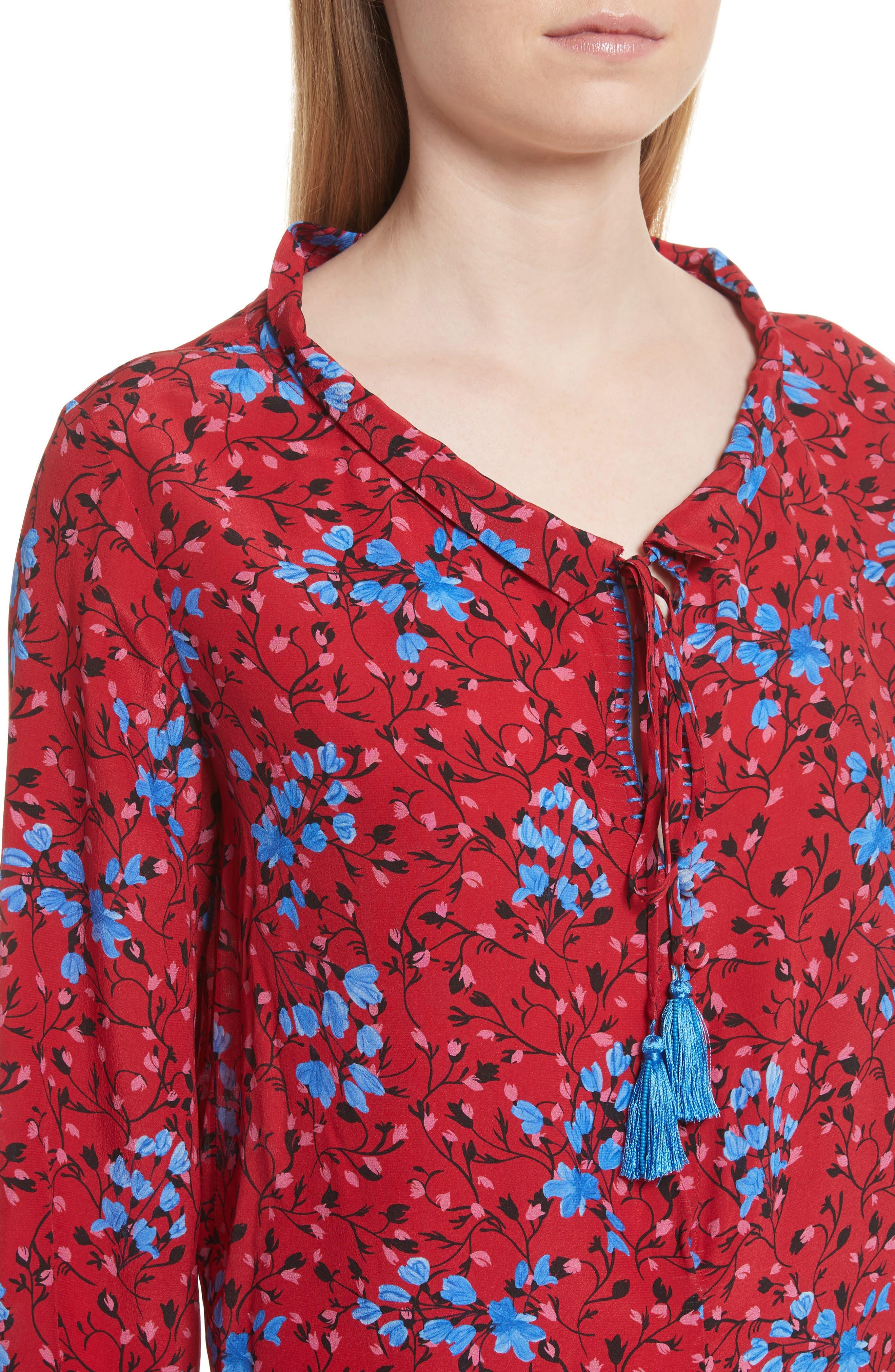 Ali Floral Print Silk Top,                             Alternate thumbnail 4, color,                             Scarlet Posey
