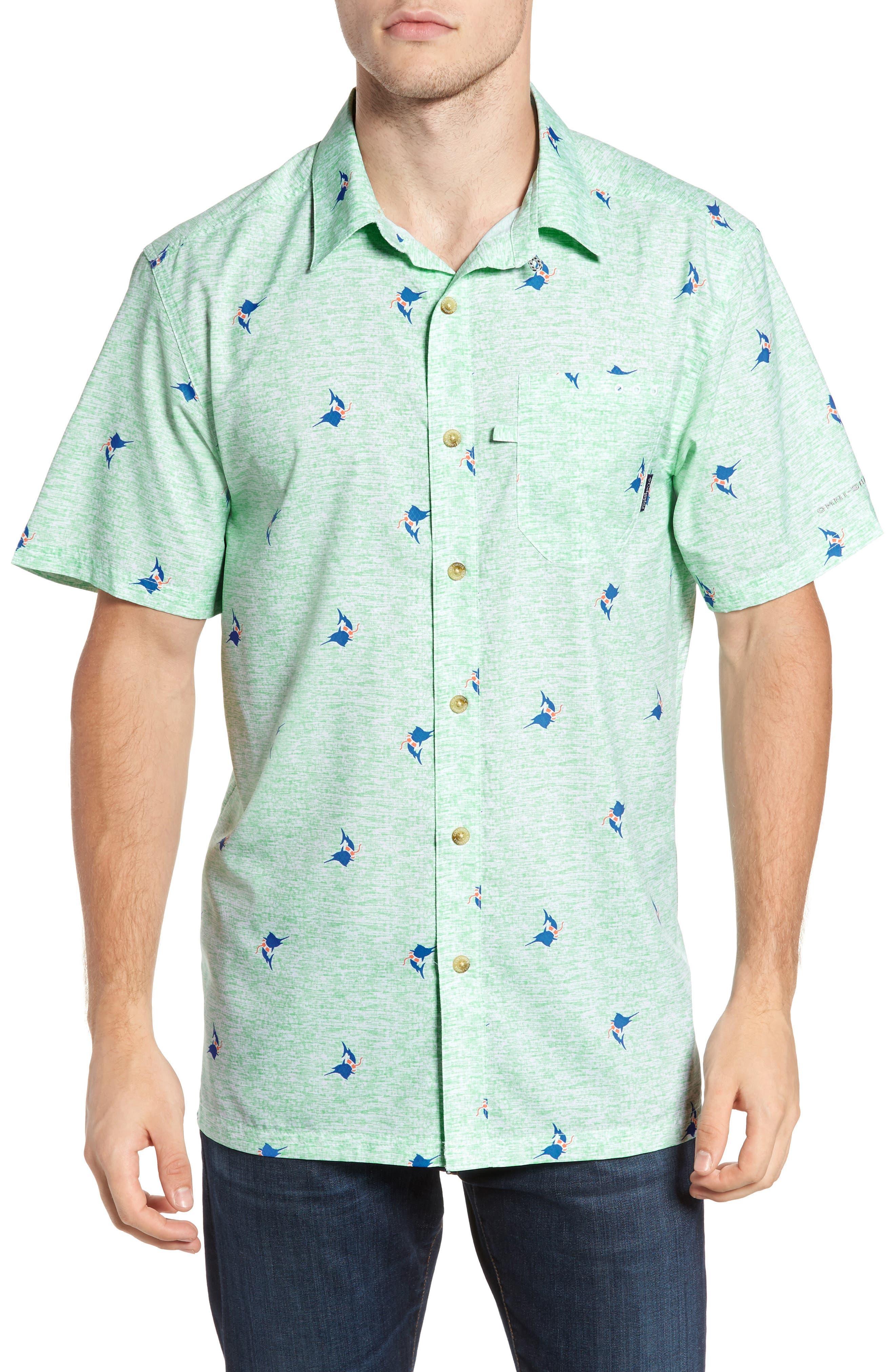 Super Slack Tide Patterned Woven Shirt,                         Main,                         color, Kelp Marlin Print