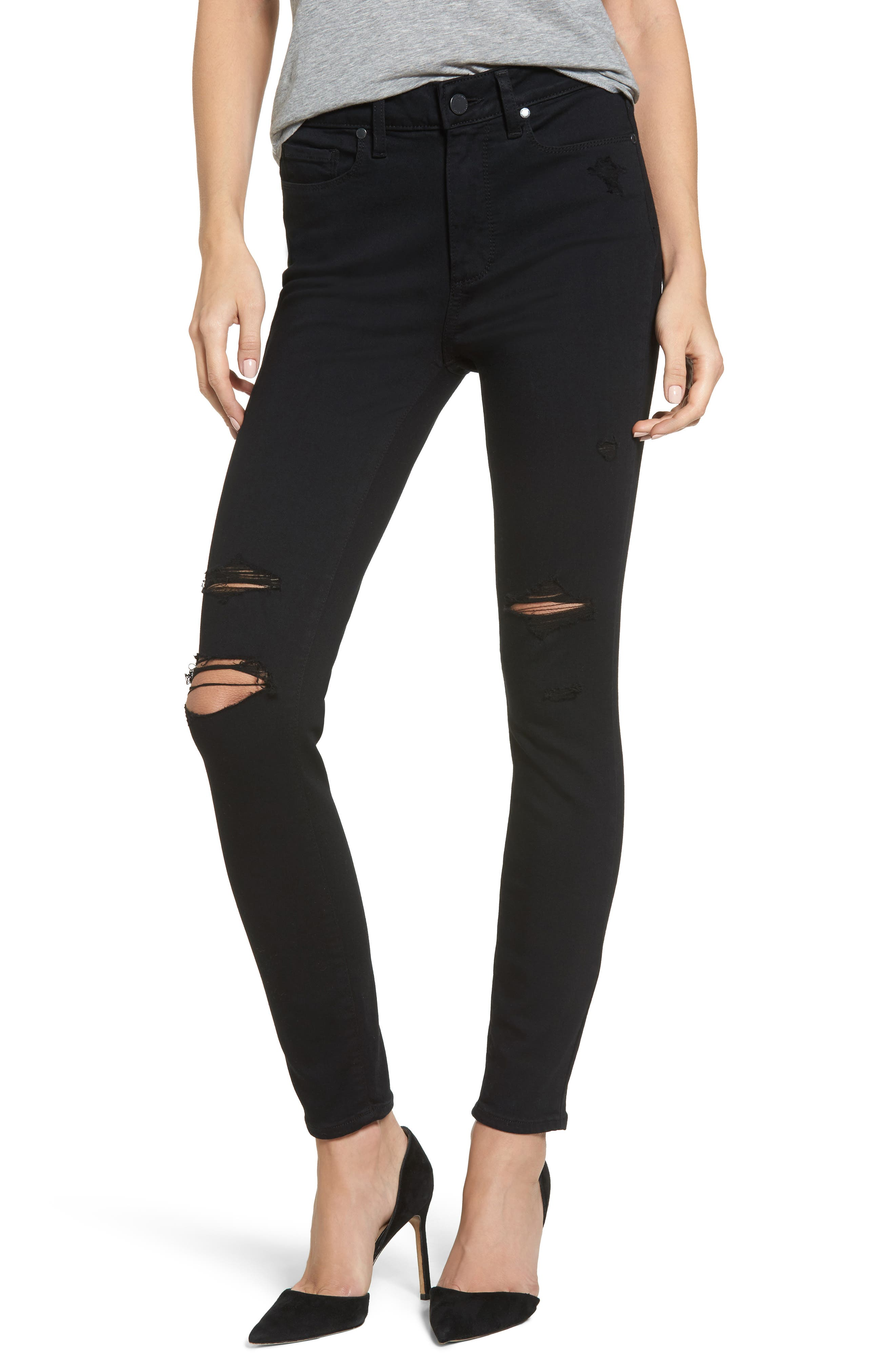 Transcend - Hoxton High Waist Ankle Skinny Jeans,                         Main,                         color, Black