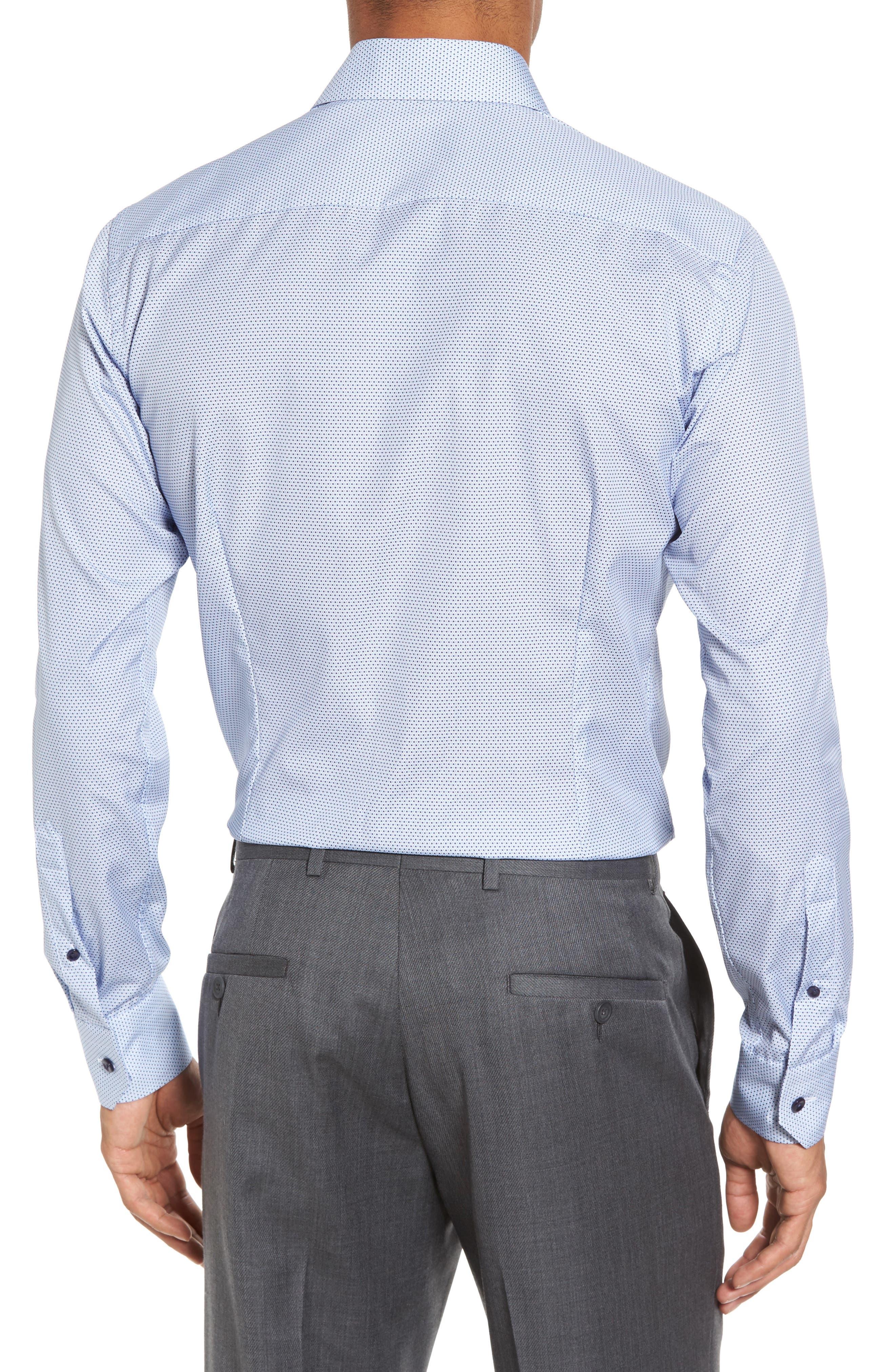 Slim Fit Microprint Dress Shirt,                             Alternate thumbnail 3, color,                             Blue