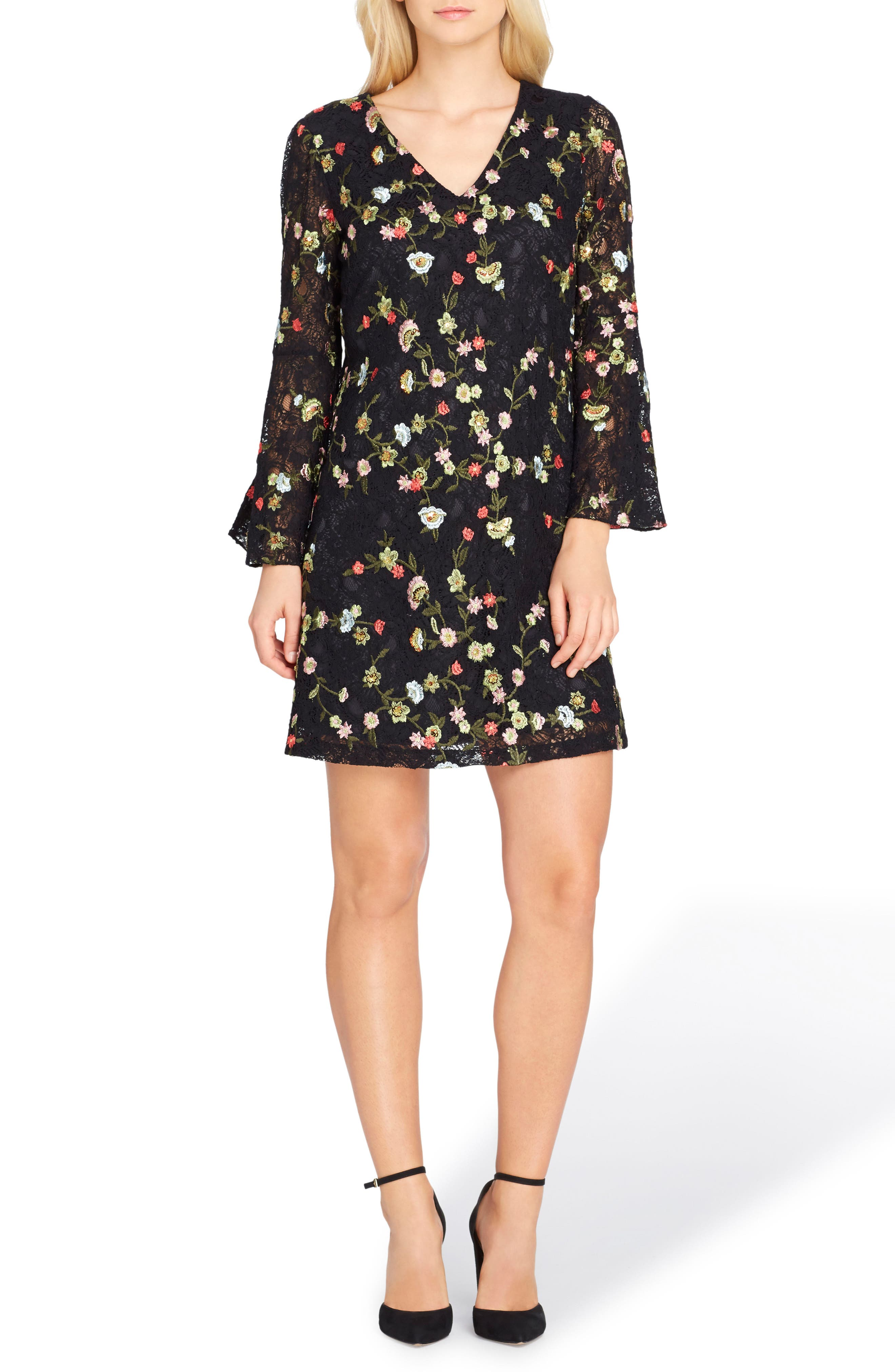 Main Image - Tahari Embroidered Bell Sleeve Shift Dress