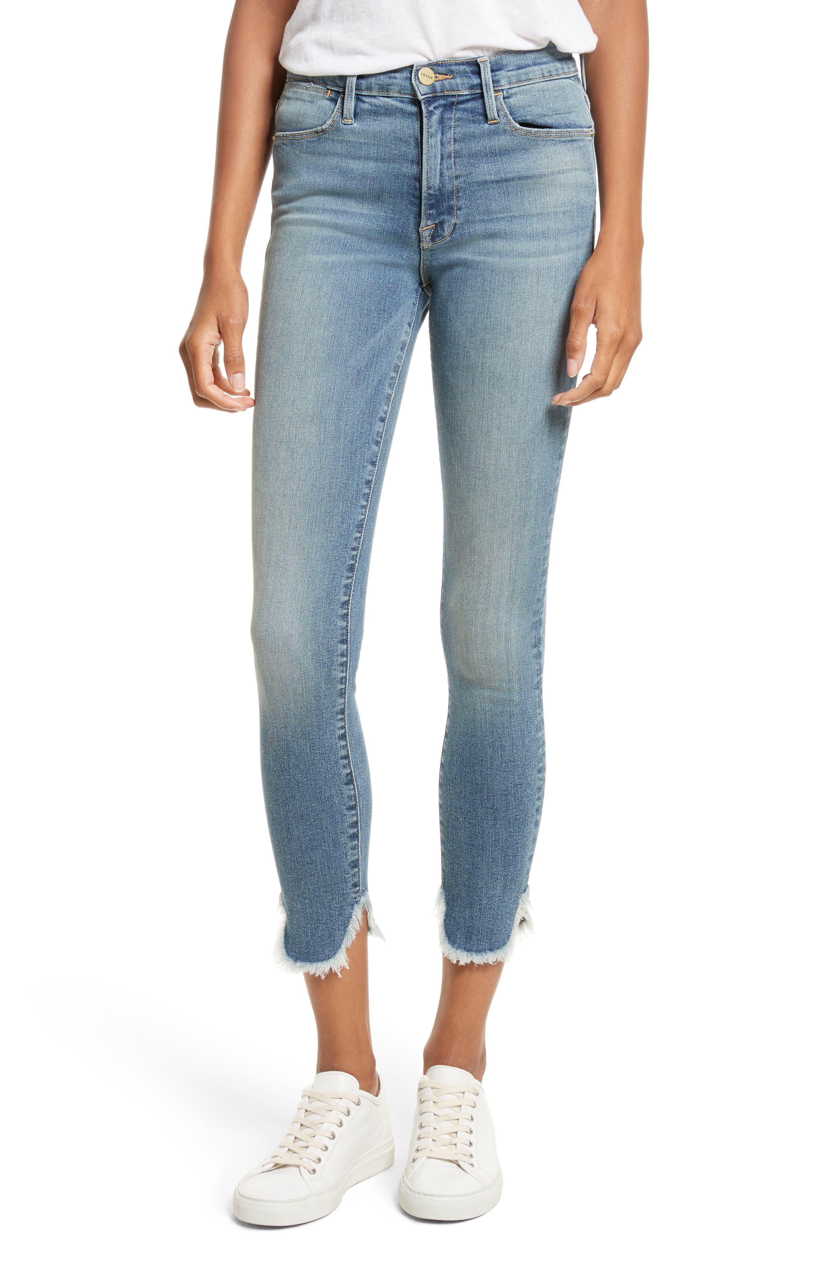 FRAME Le High Skinny Petal Hem Jeans