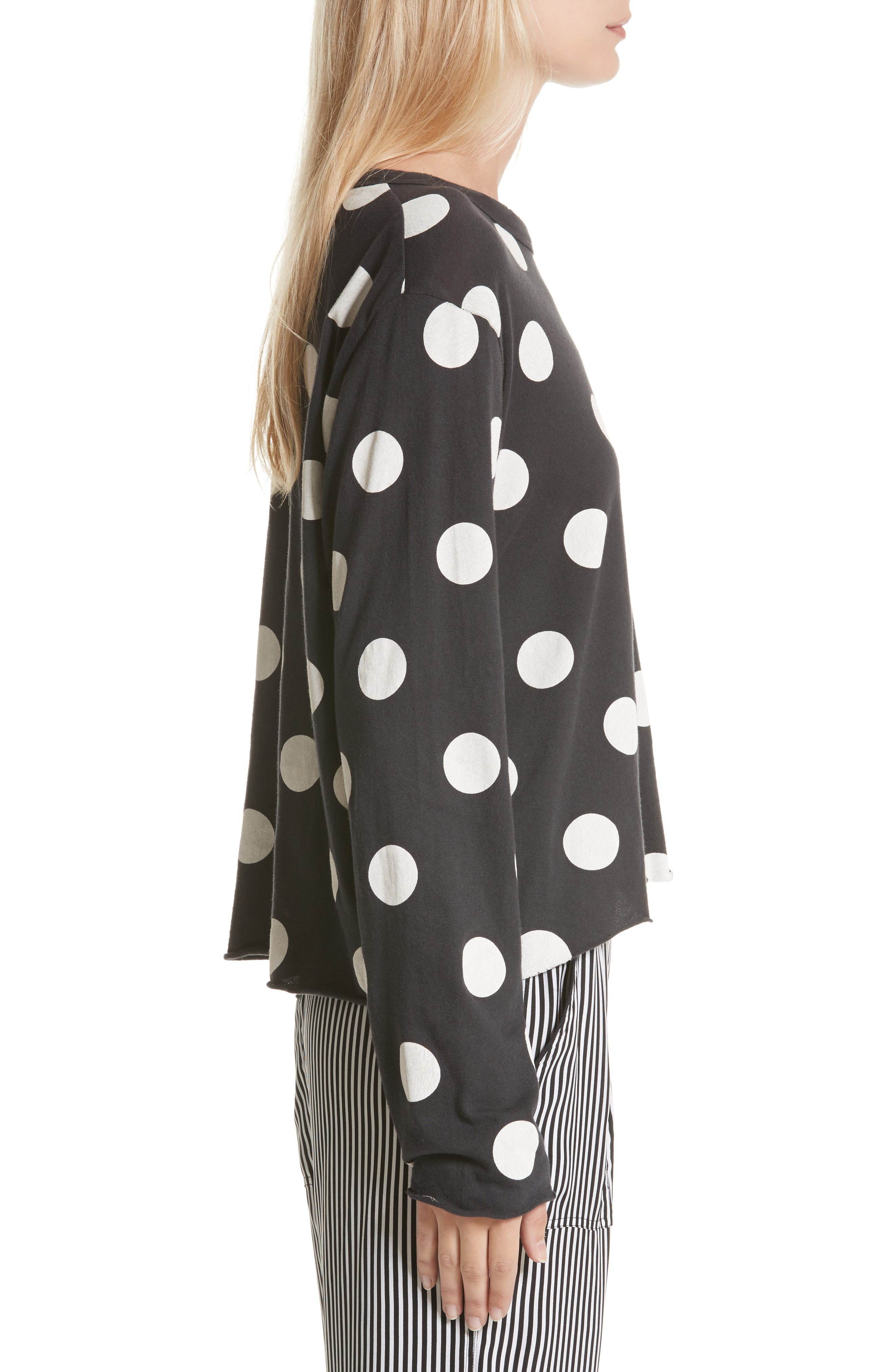 The Long Sleeve Crop Dot Print Tee,                             Alternate thumbnail 4, color,                             Washed Black White Dots