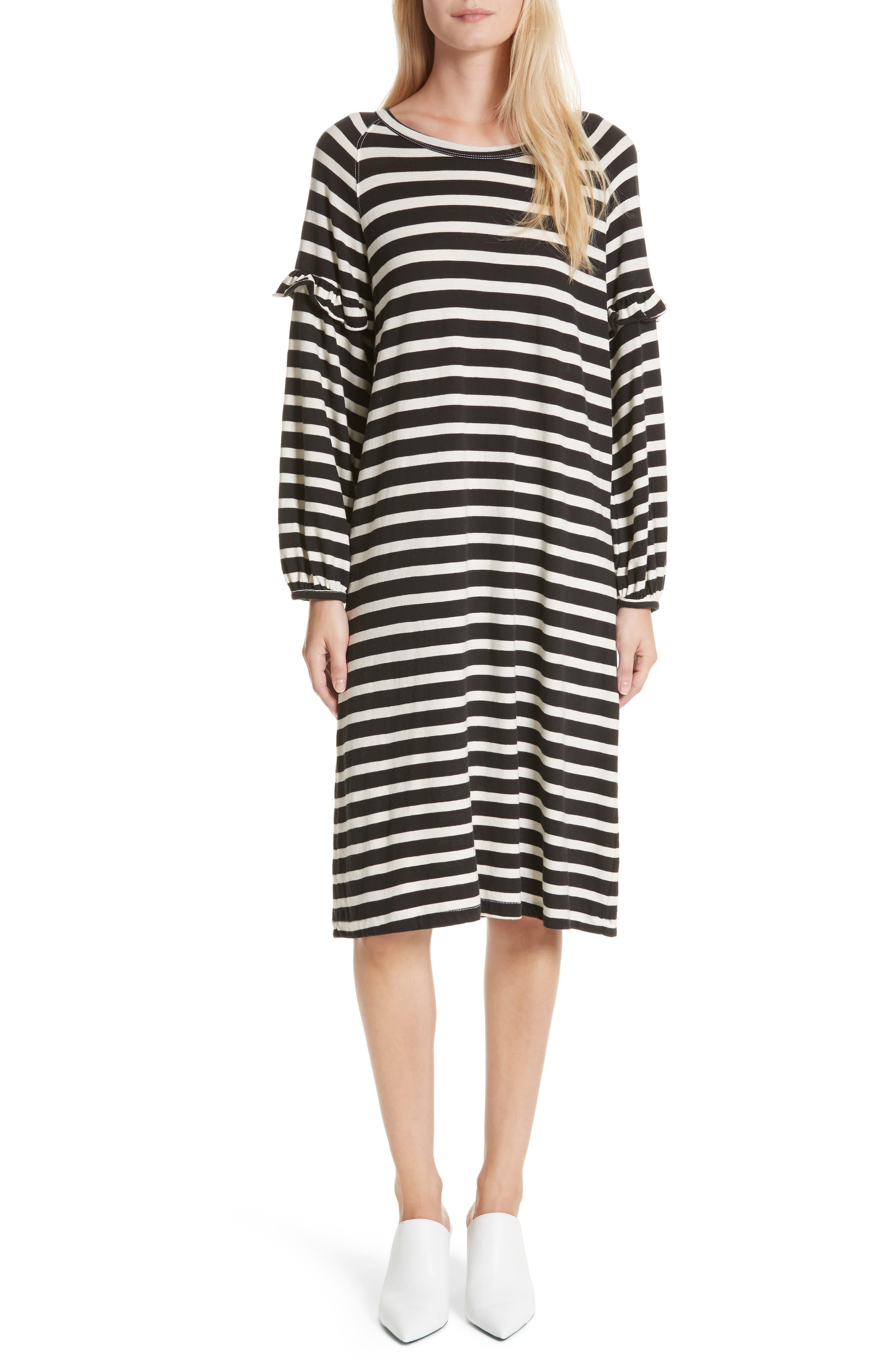 The Raglan Ruffle Dress,                         Main,                         color, Black/ Cream Stripe