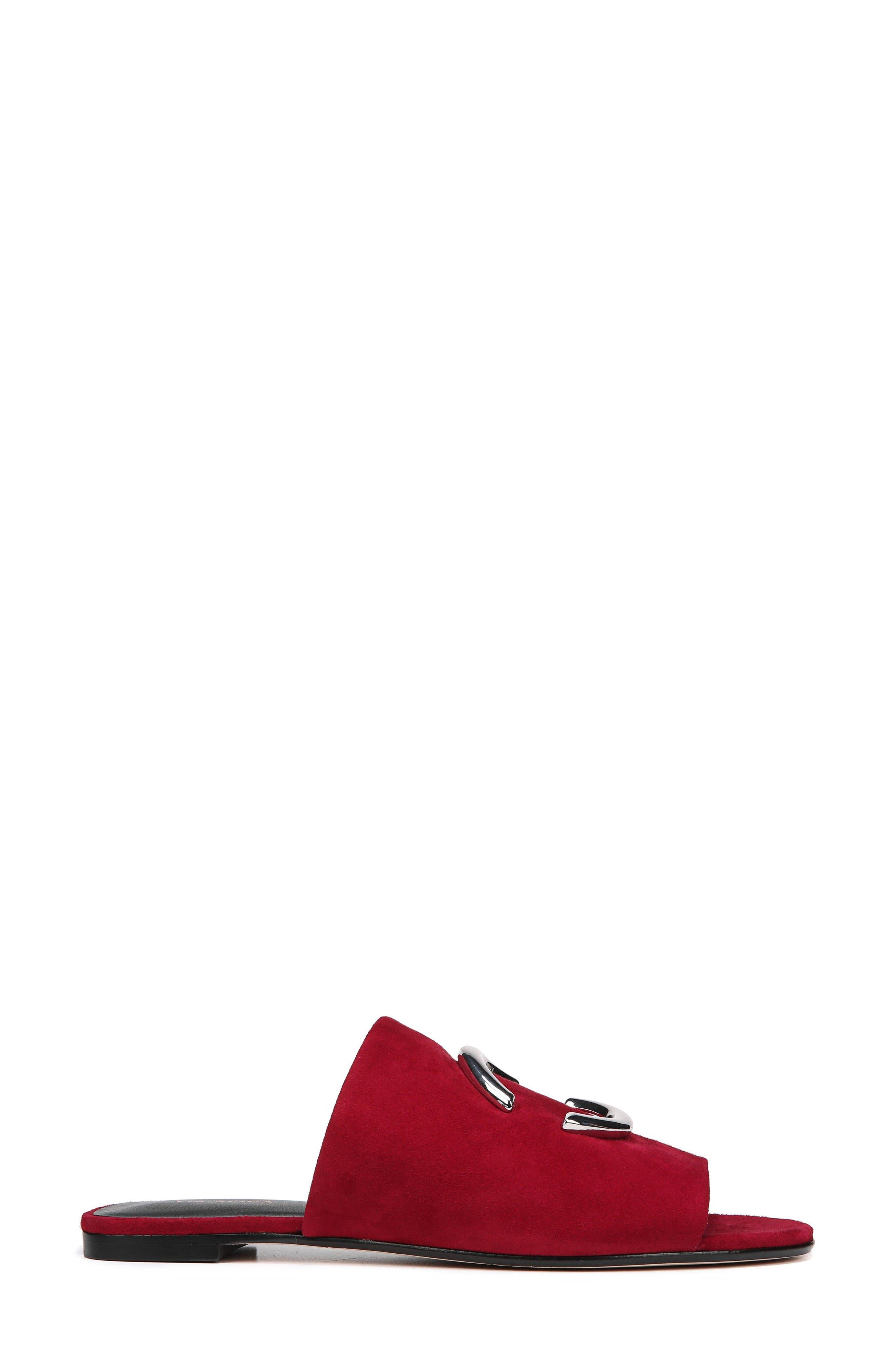 Helena Slide Sandal,                             Alternate thumbnail 3, color,                             Ruby Suede