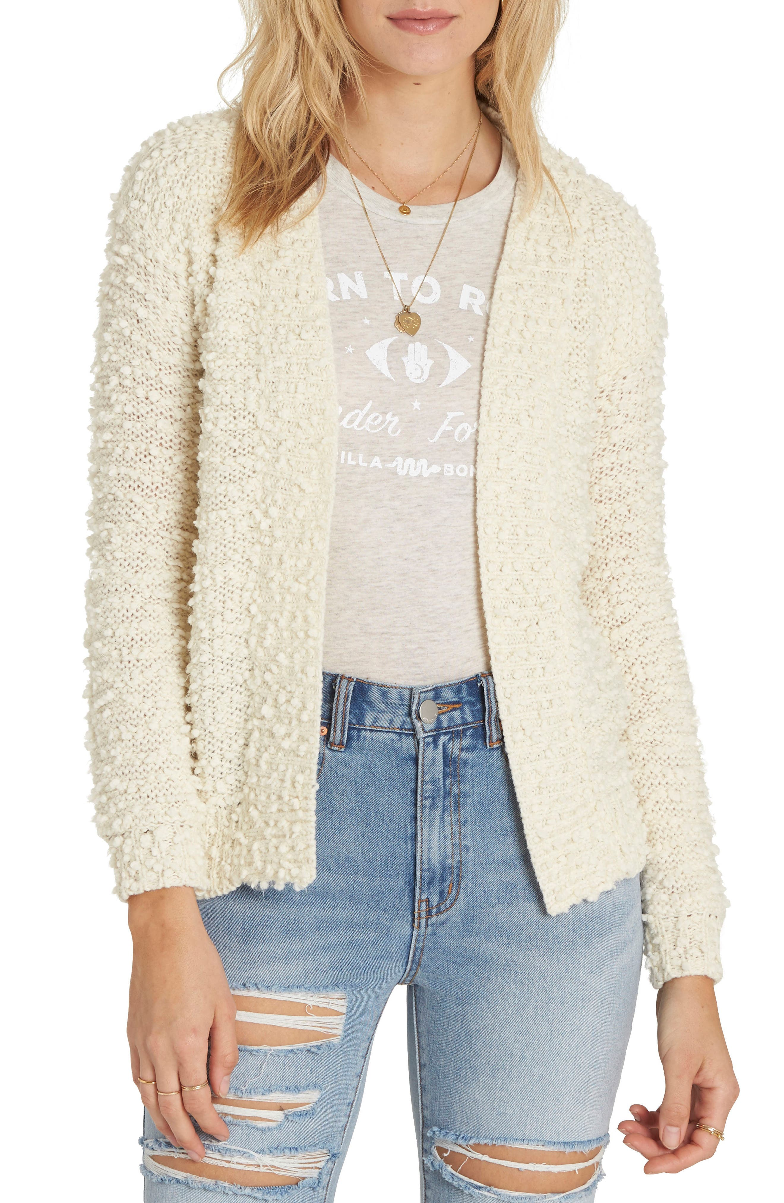 Bouclé Cardigan,                             Main thumbnail 1, color,                             White Cap