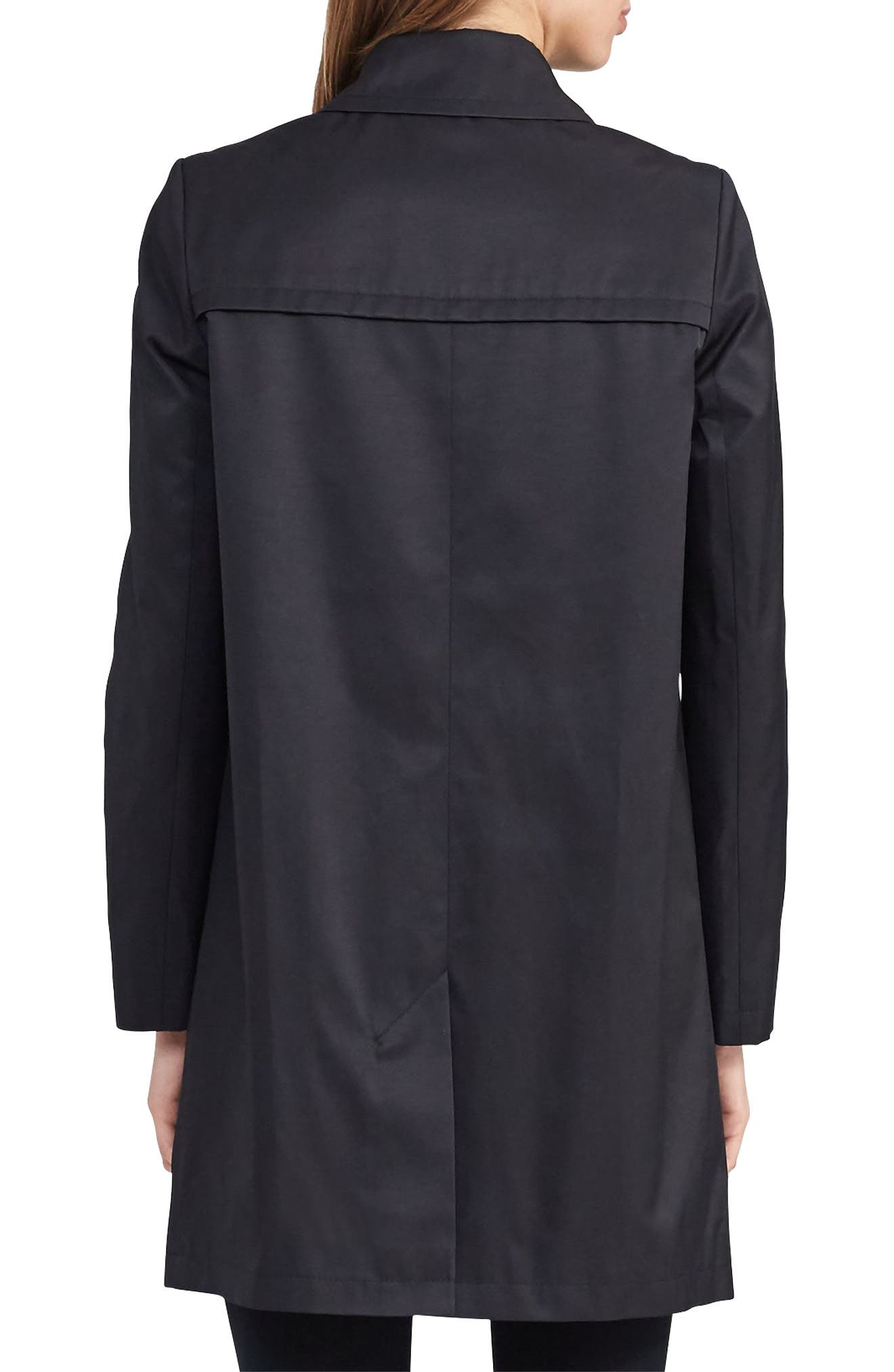 A-Line Trench Coat,                             Alternate thumbnail 3, color,                             Black